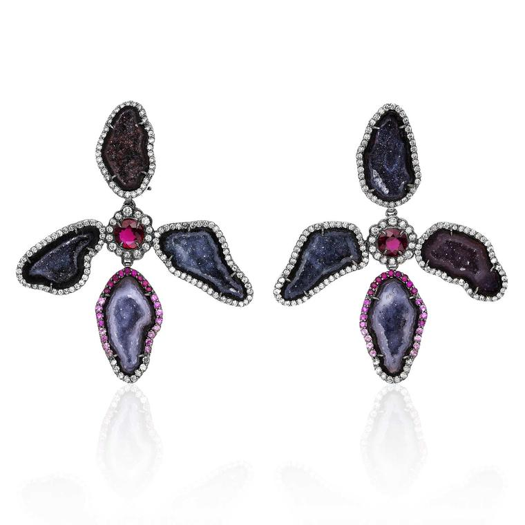 Kimberly McDonald Orchide dark geode earrings