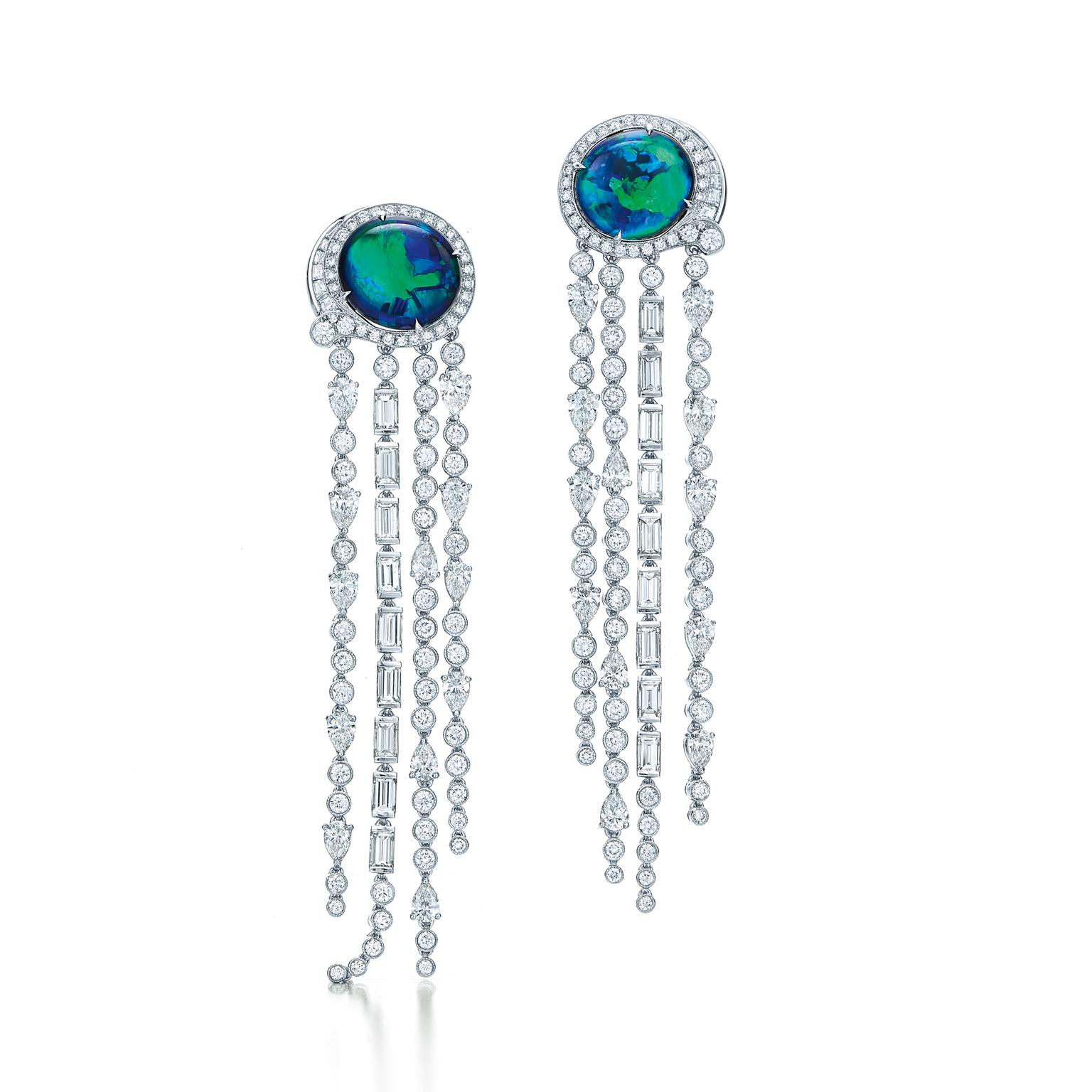 Tiffany Blue Book diamond and opal fringe earrings