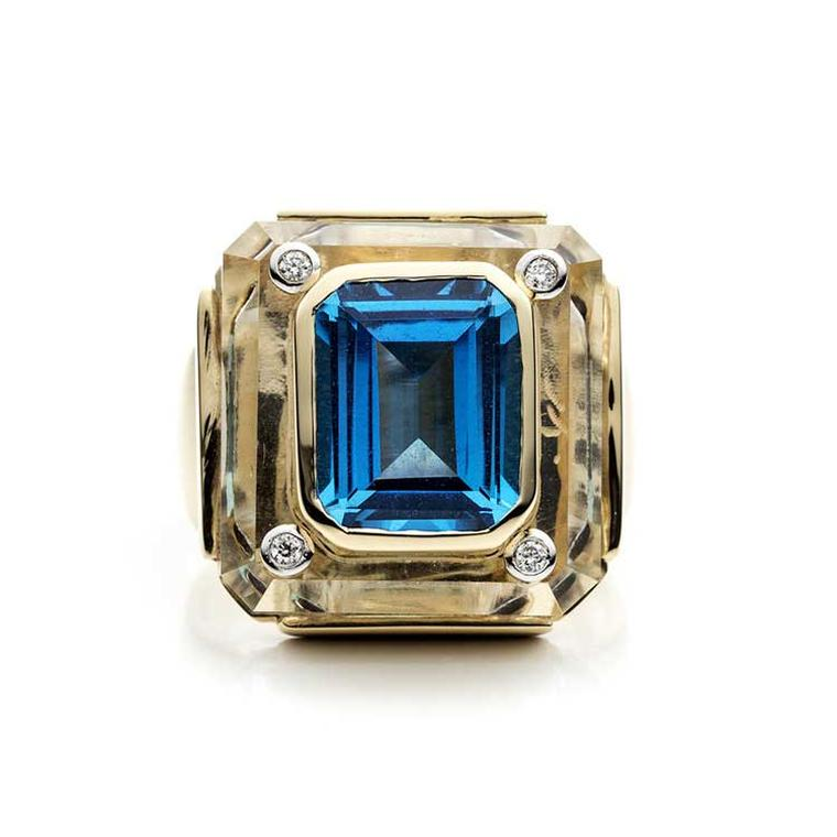 Kara Ross Cava ring in rock crystal with blue topaz front