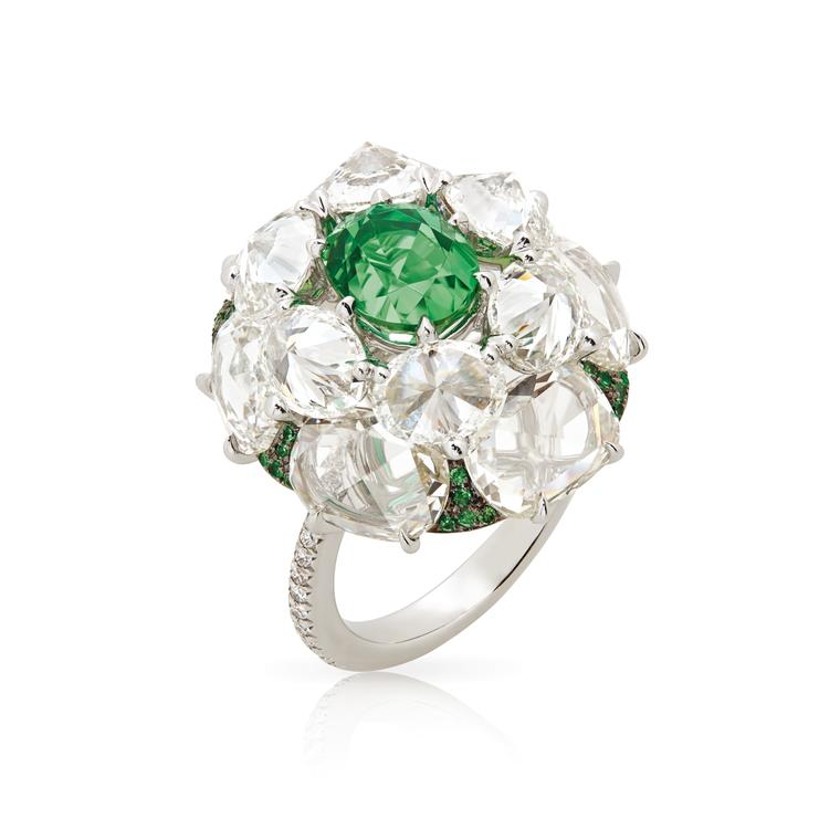Electric Green Kornerupine and diamond ring