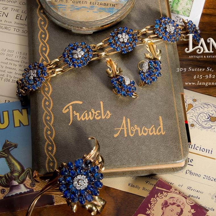 Chaumet sapphire pin, bracelet and earrings sold by Lang Antiques