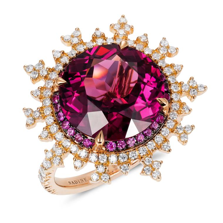 Engagement ring with rhodolite and diamonds from Nadine Aysoy