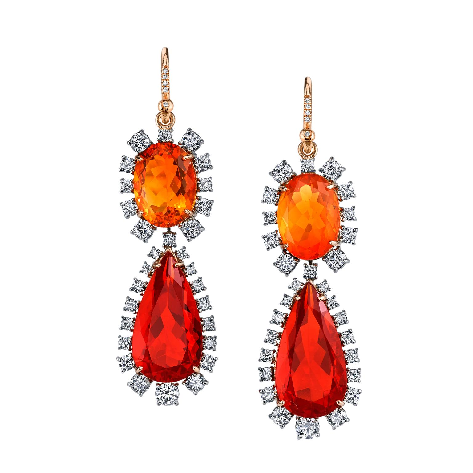 Irene Neuwirth fire opal and diamond earrings