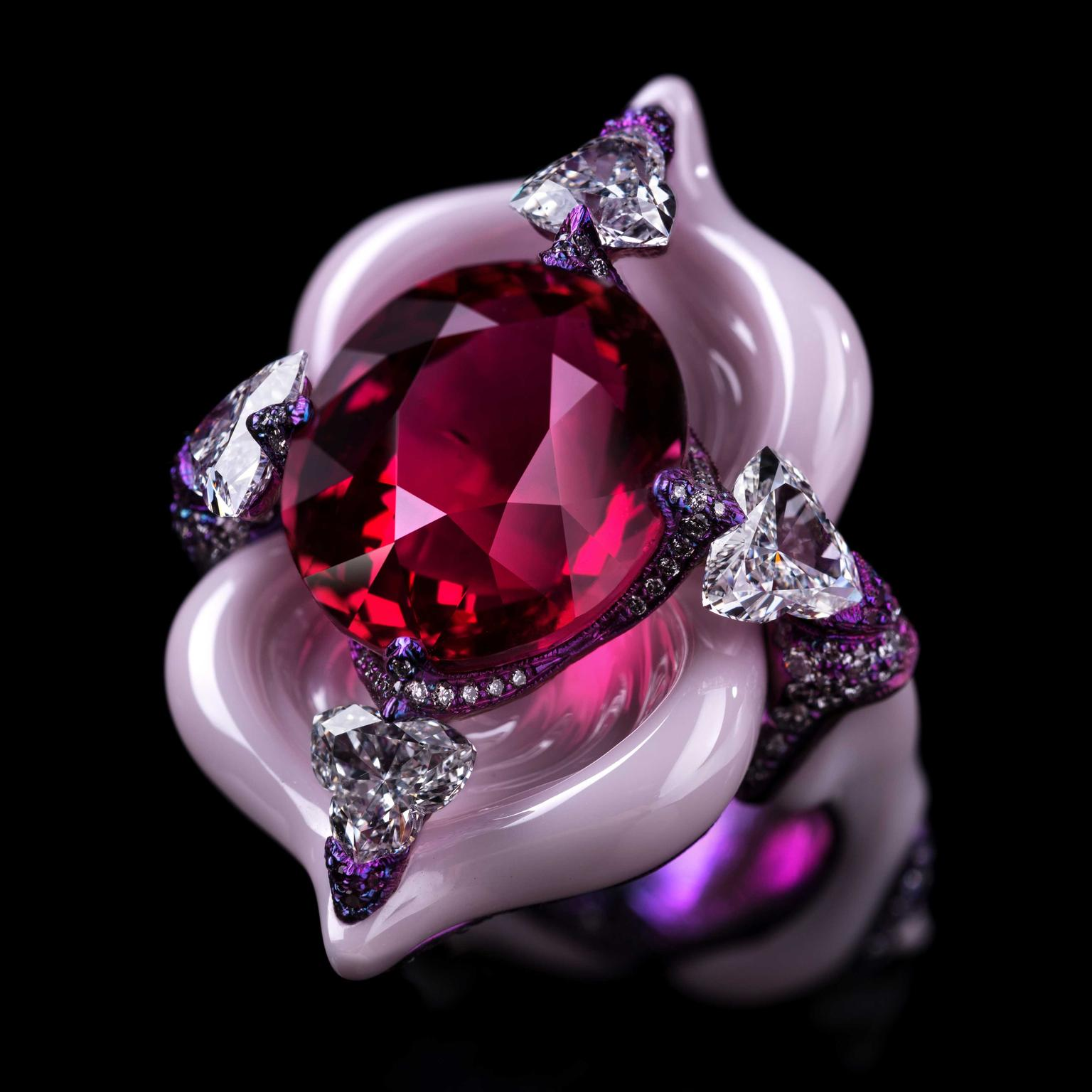 Wallace Chan Starlight Ballet ring with spinel diamonds pink sapphire in porcelain and titanium