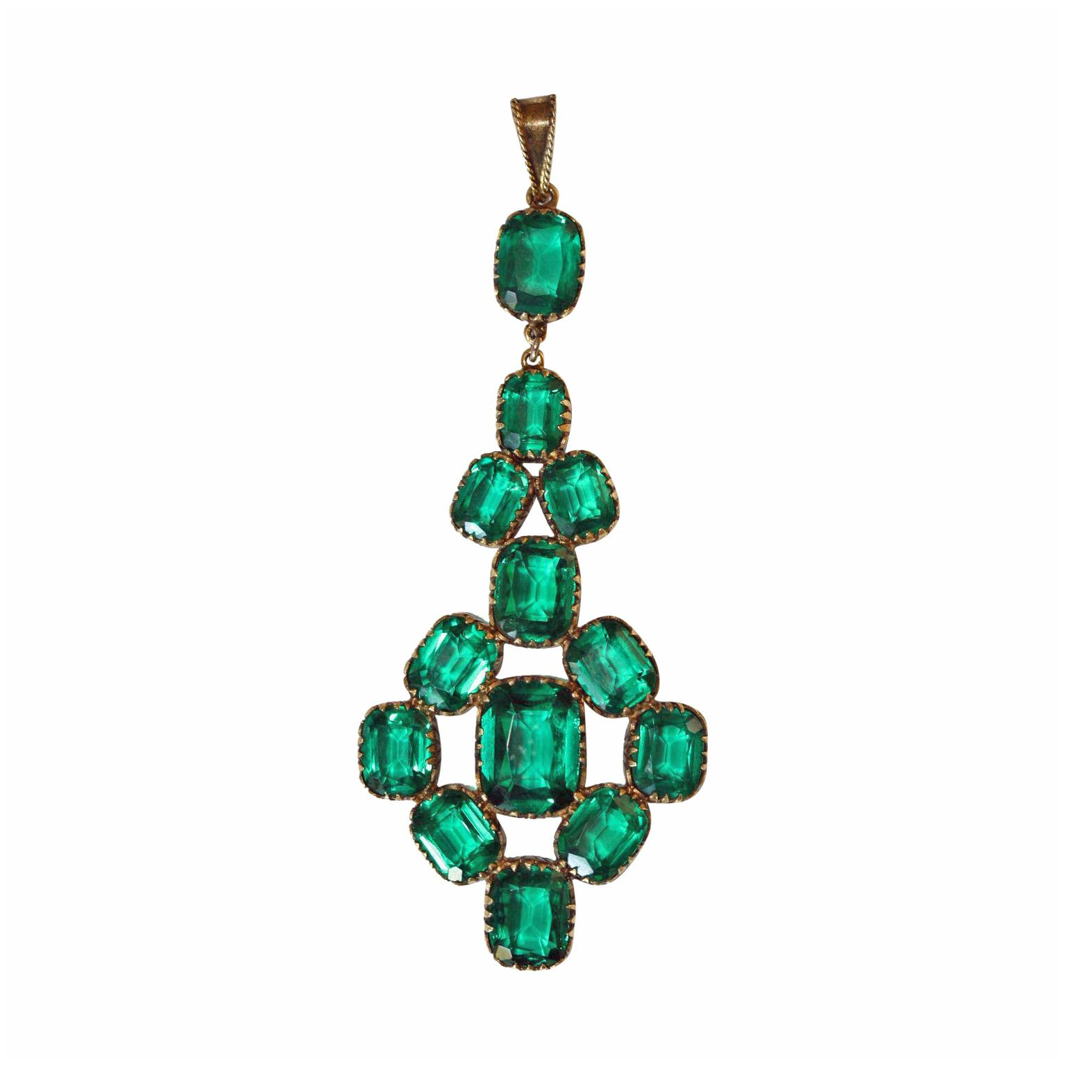 Elizabeth Rose Antiques emerald paste pendant