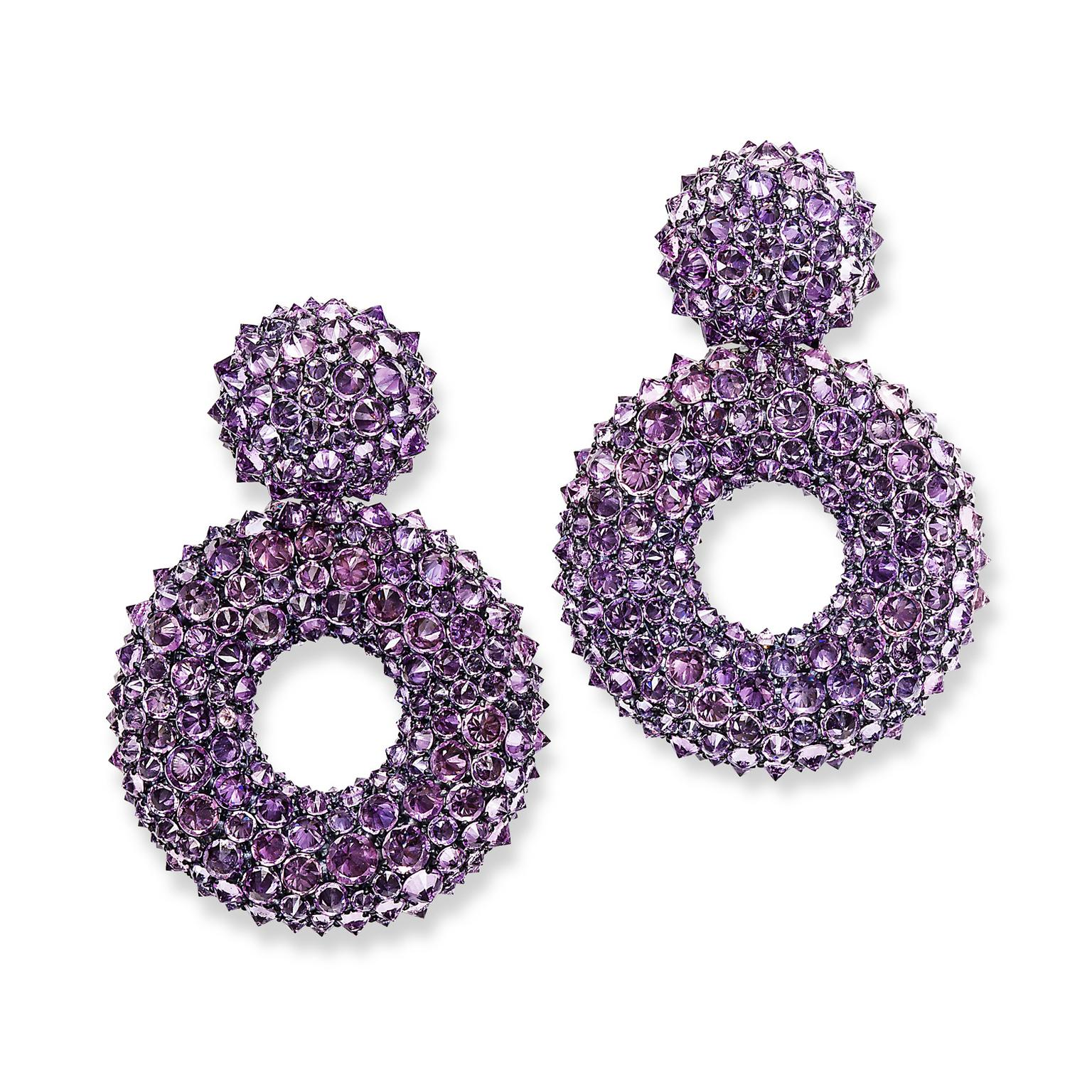 Hemmerle purple sapphire earrings