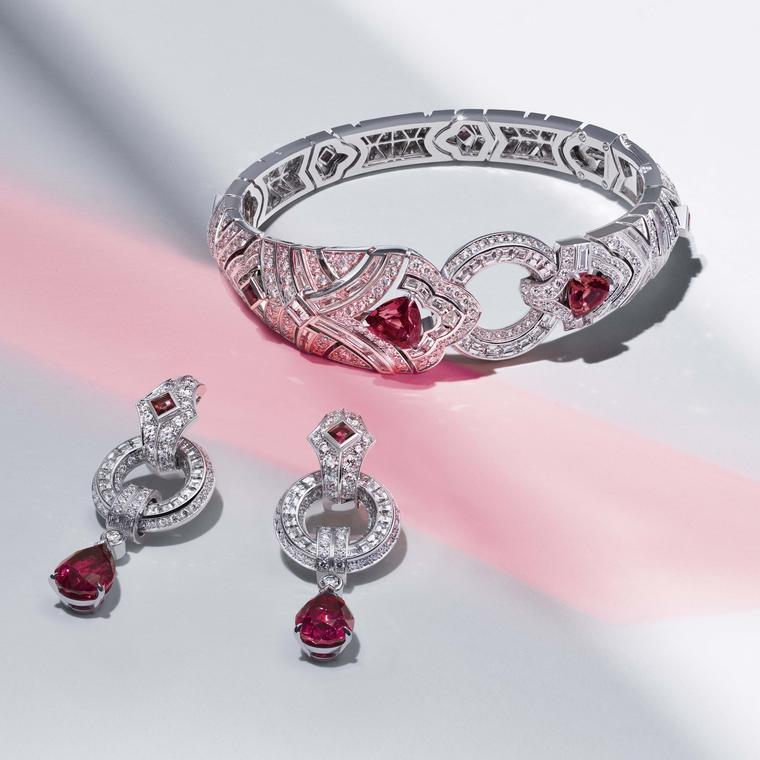 Louis Vuitton Riders of the Knights The La Cavaliere diamond and red spinel bracelet and earrings