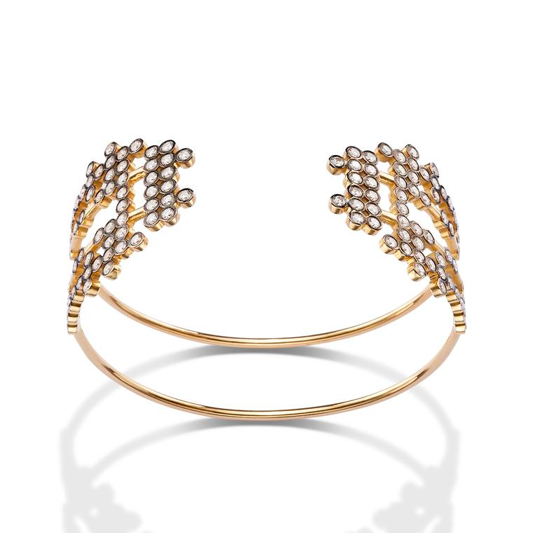 Charnières gold and diamond cuff