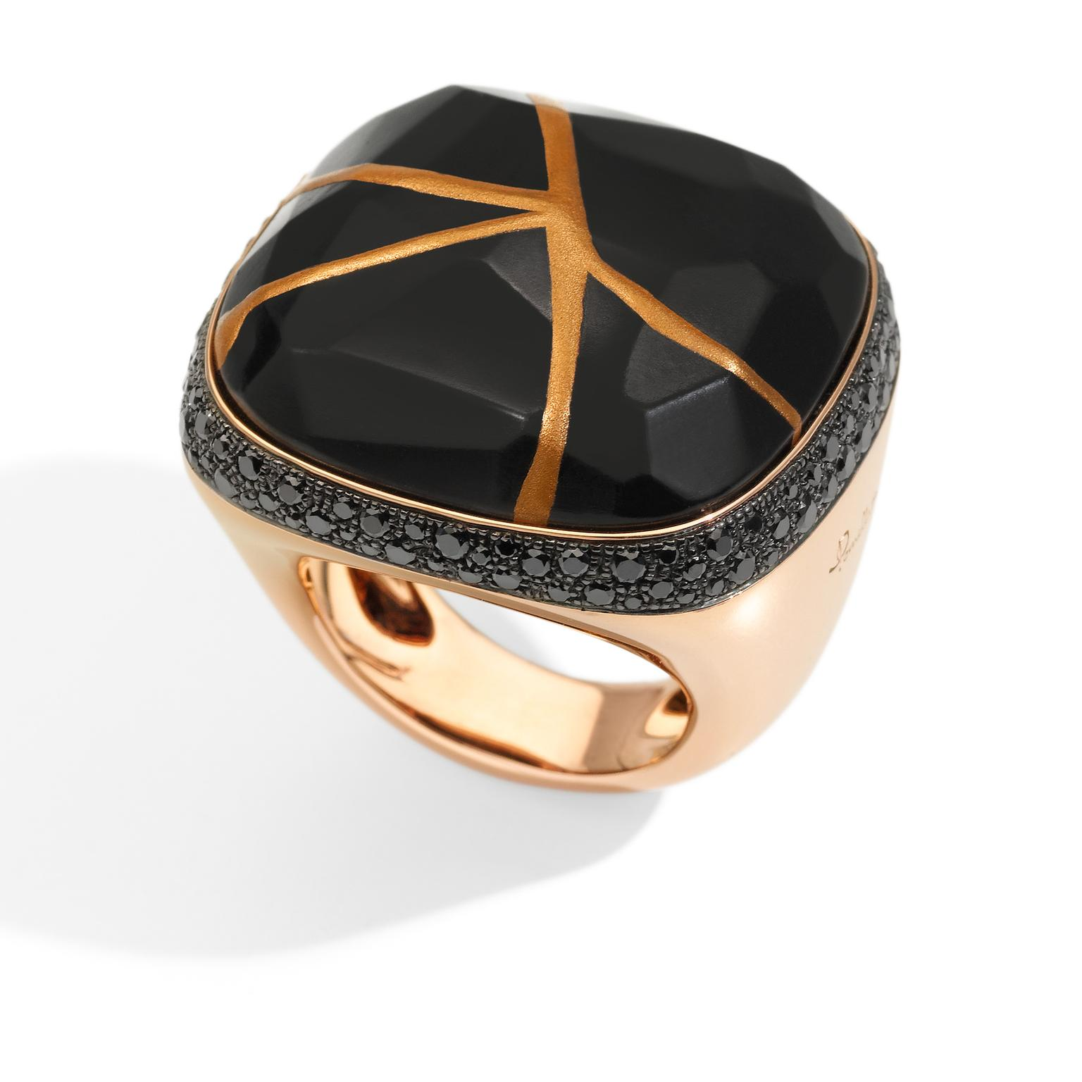 Pomellato Kintsugi Collection_ring in rose gold with jet and balck diamonds