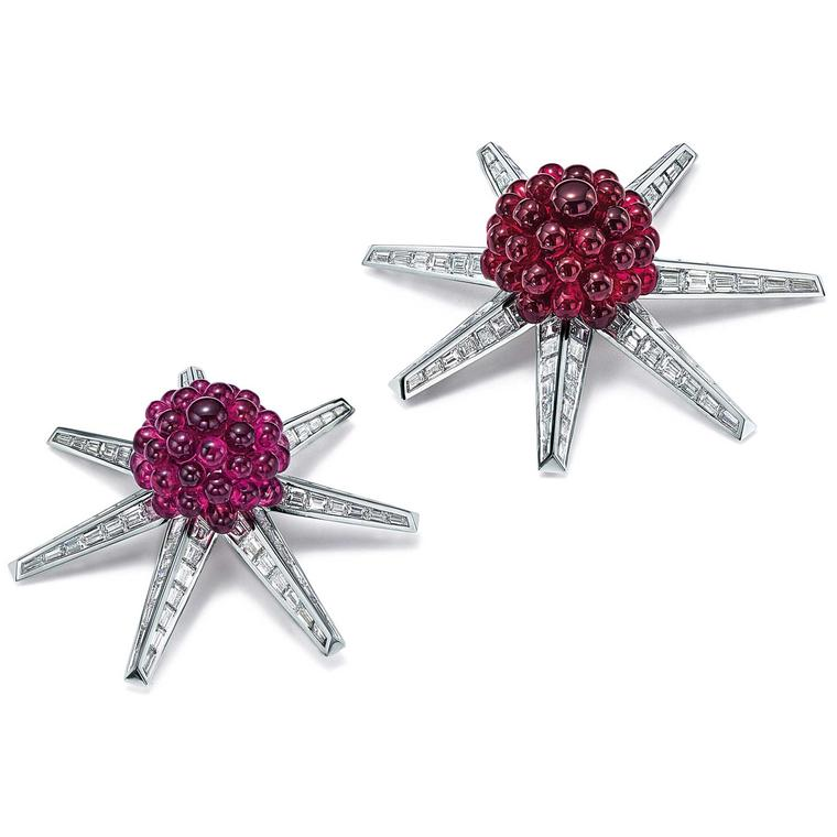 Blue Book diamond brooches with pink tourmaline and rubellite beads