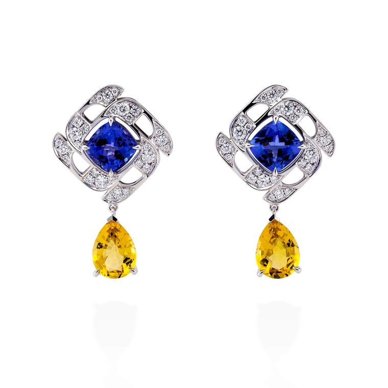 Boodles Prism tanzanite and yellow beryl earrings with diamonds