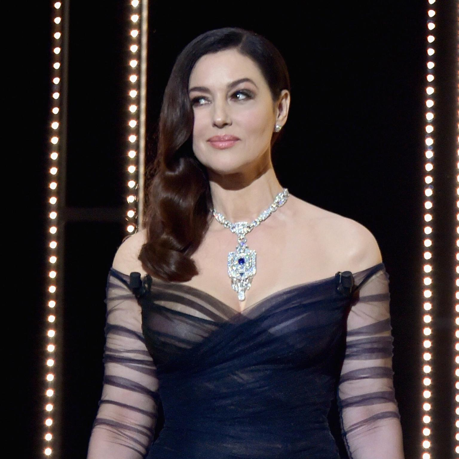 Monica Bellucci Cannes 2017 in Cartier necklace