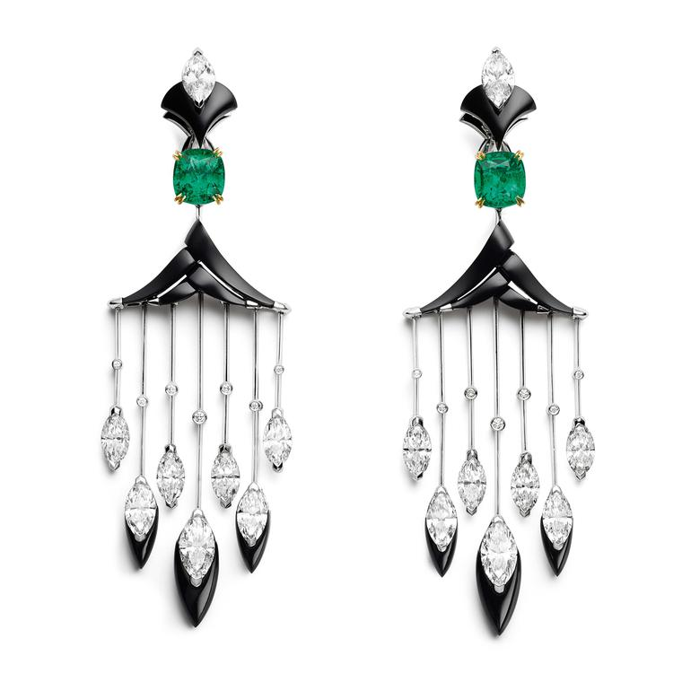 Chaumet Cascades Royale emerald and onyx earrings
