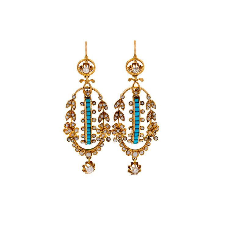 Macklowe Gallery turquoise seed pearl earrings