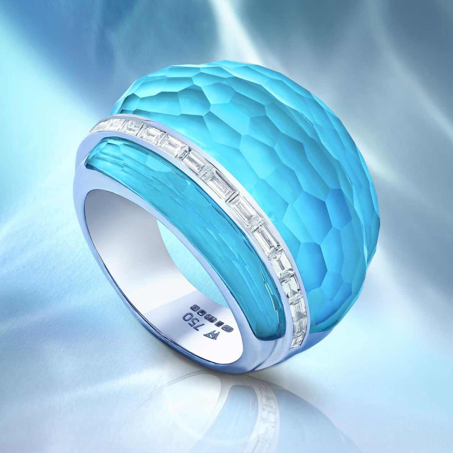 Stephen Webster CH2 cocktail ring turquoise and diamonds