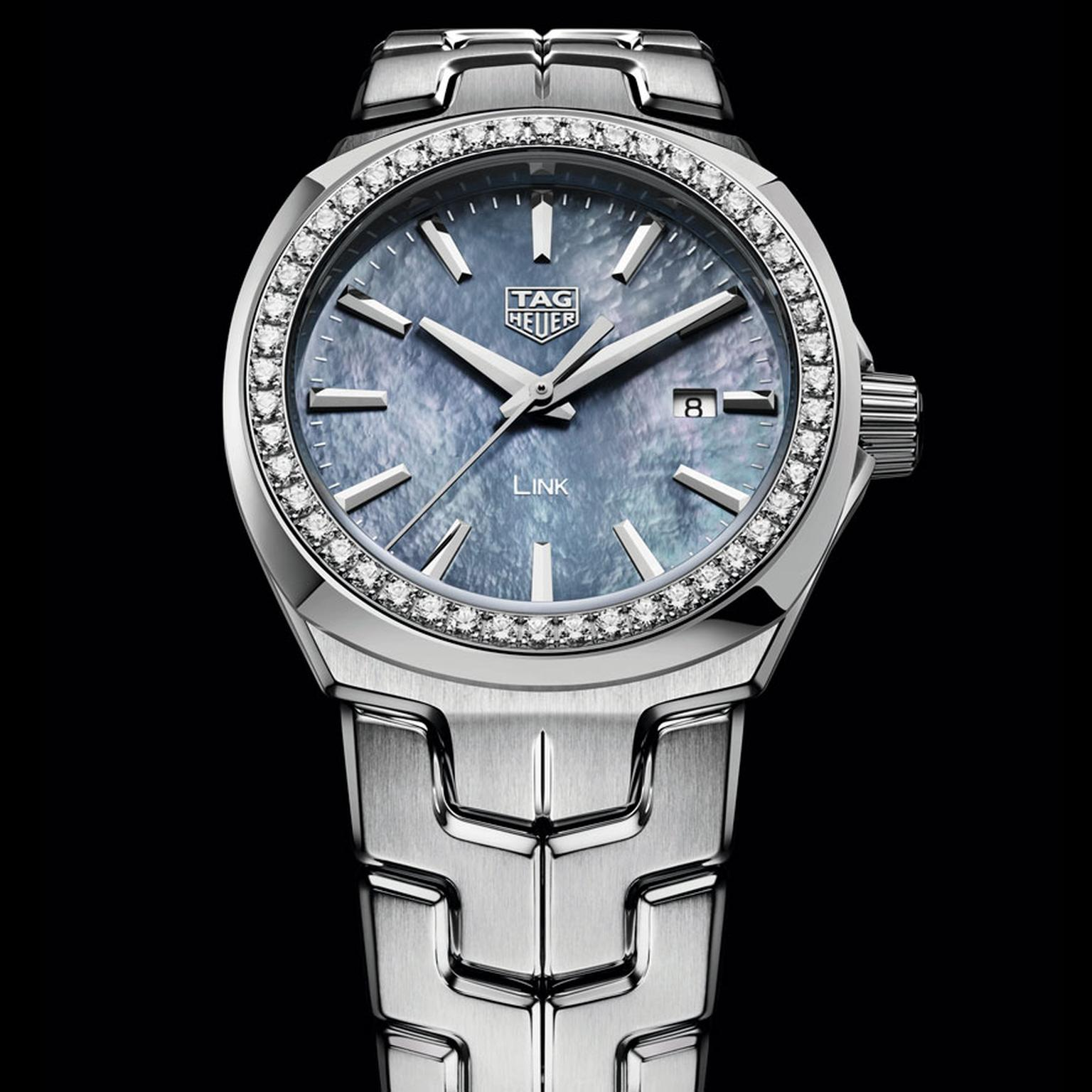 TAG Heuer Lady Link 32mm watch with blue mother of pearl dial and diamonds