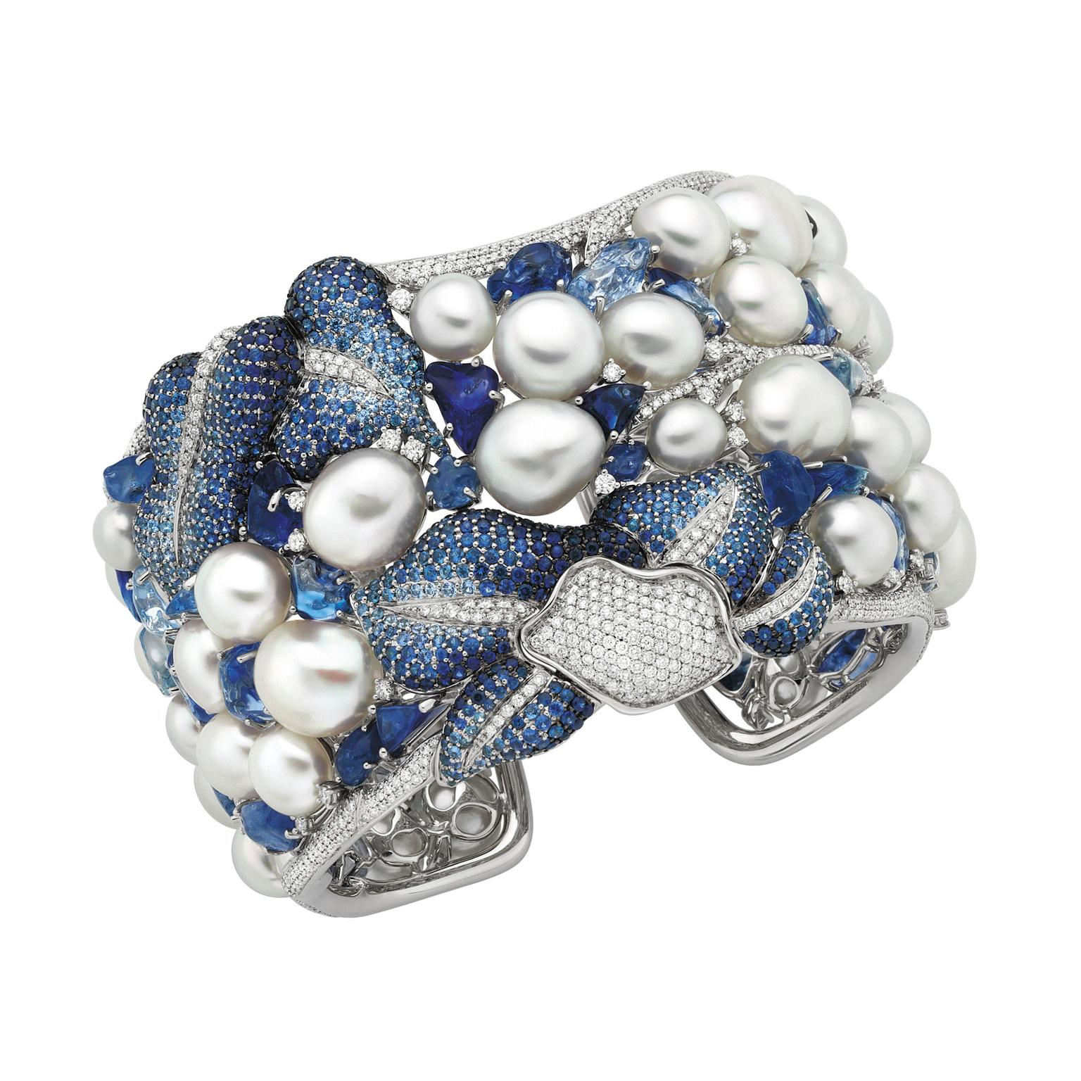 Autore Vanda white pearl cuff with diamonds and sapphires