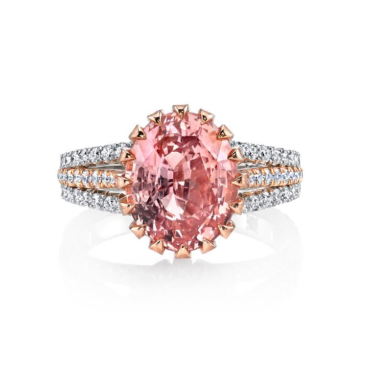 Padparadscha sapphire ring with diamonds