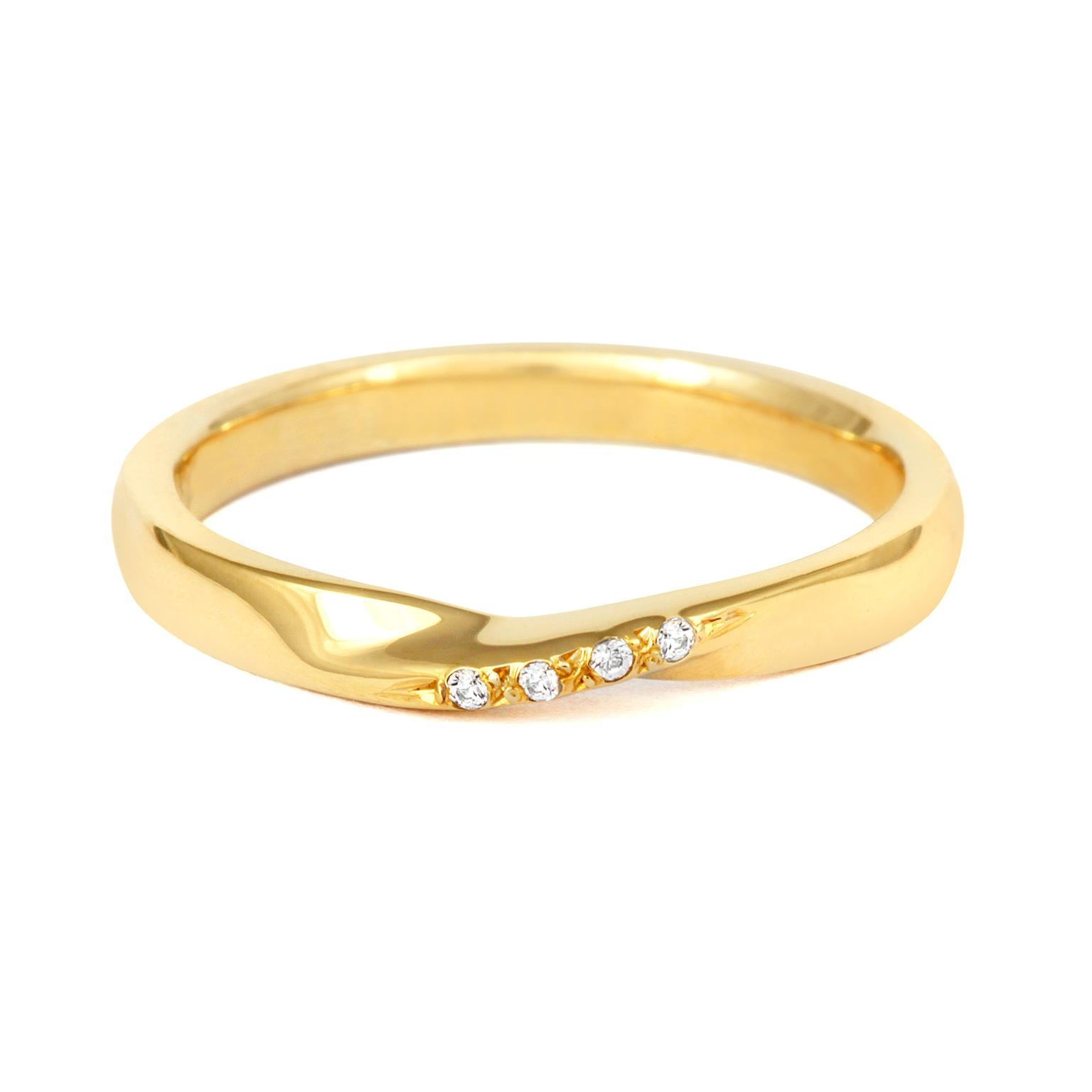 CRED Fairtrade gold and diamond-set wedding band