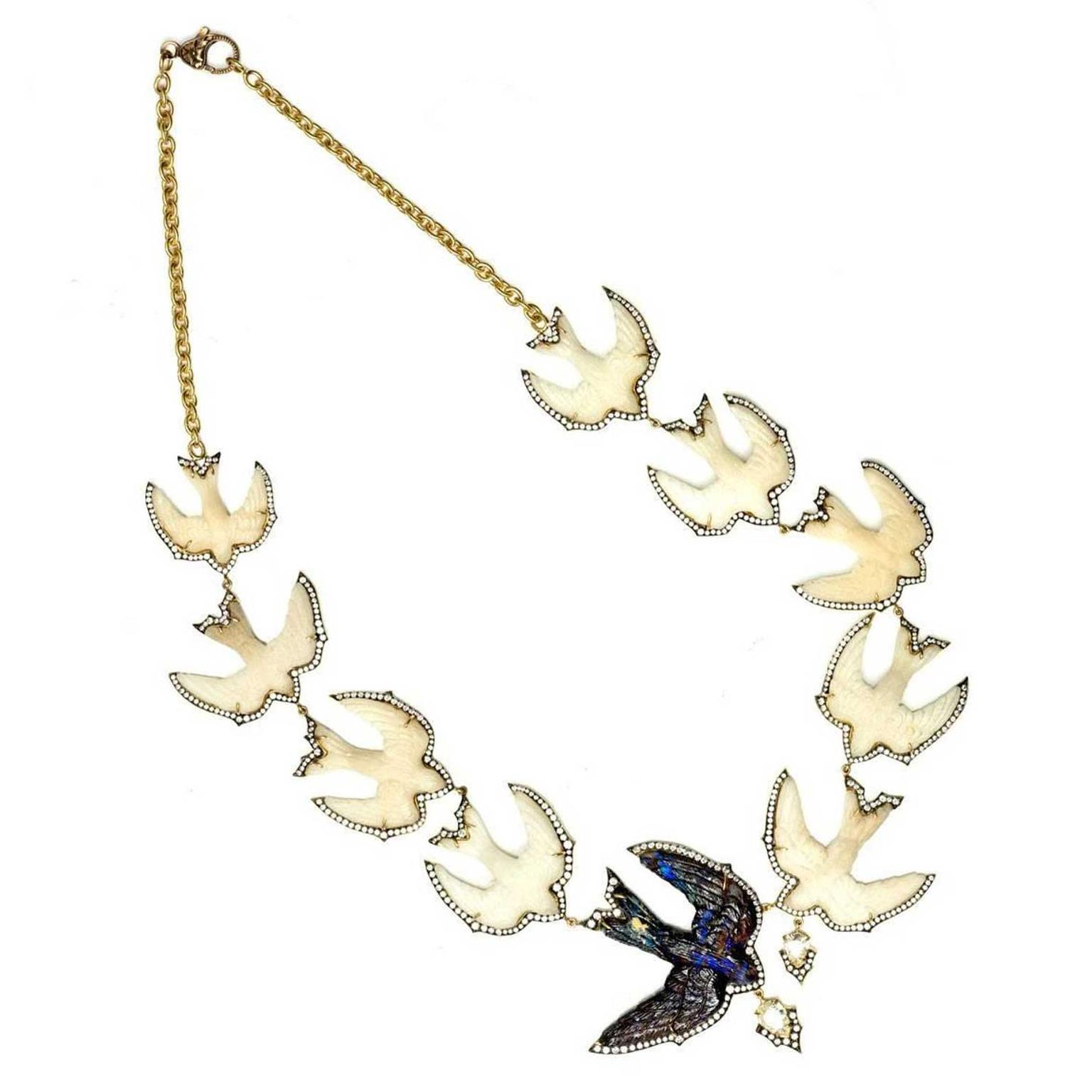 Sylva & Cie Swallow Bird Tagua nut, opal and diamond necklace