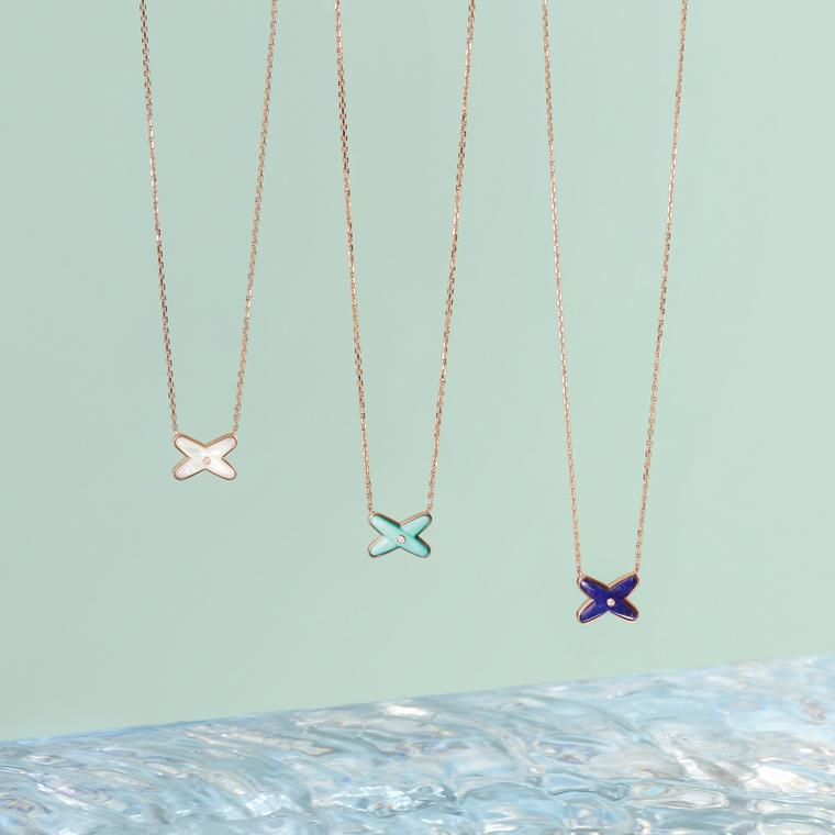 Liens Diptyque pendants in rose gold