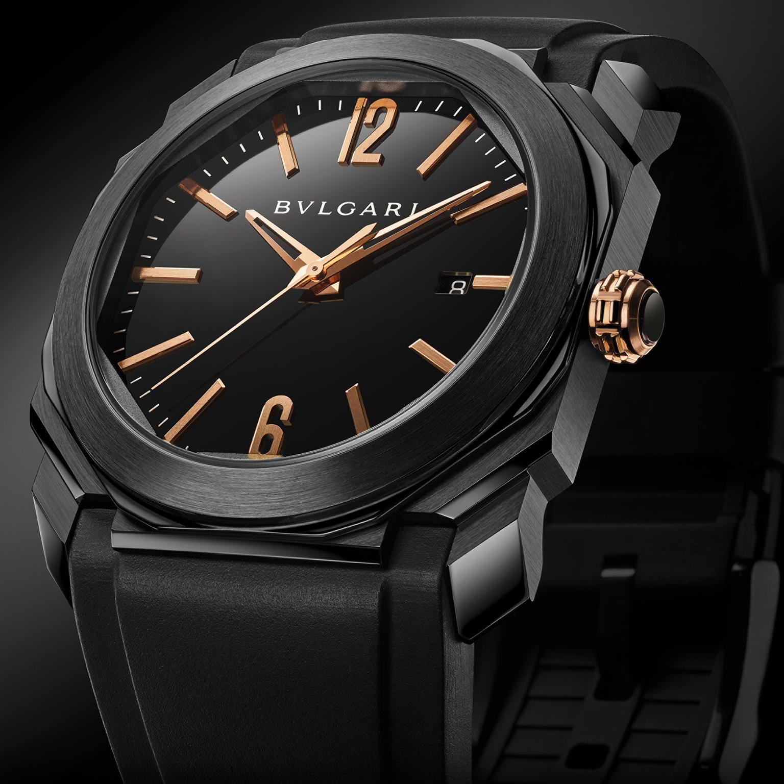 Bulgari Octo Ultranero Solotempo watch close-up