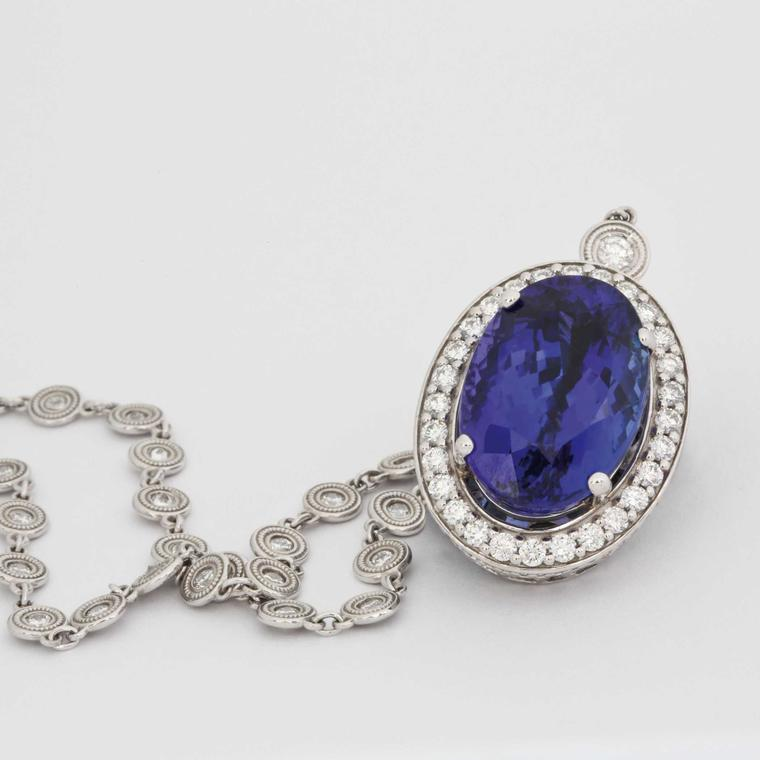 David Jerome Collection tanzanite and diamond-set pendant