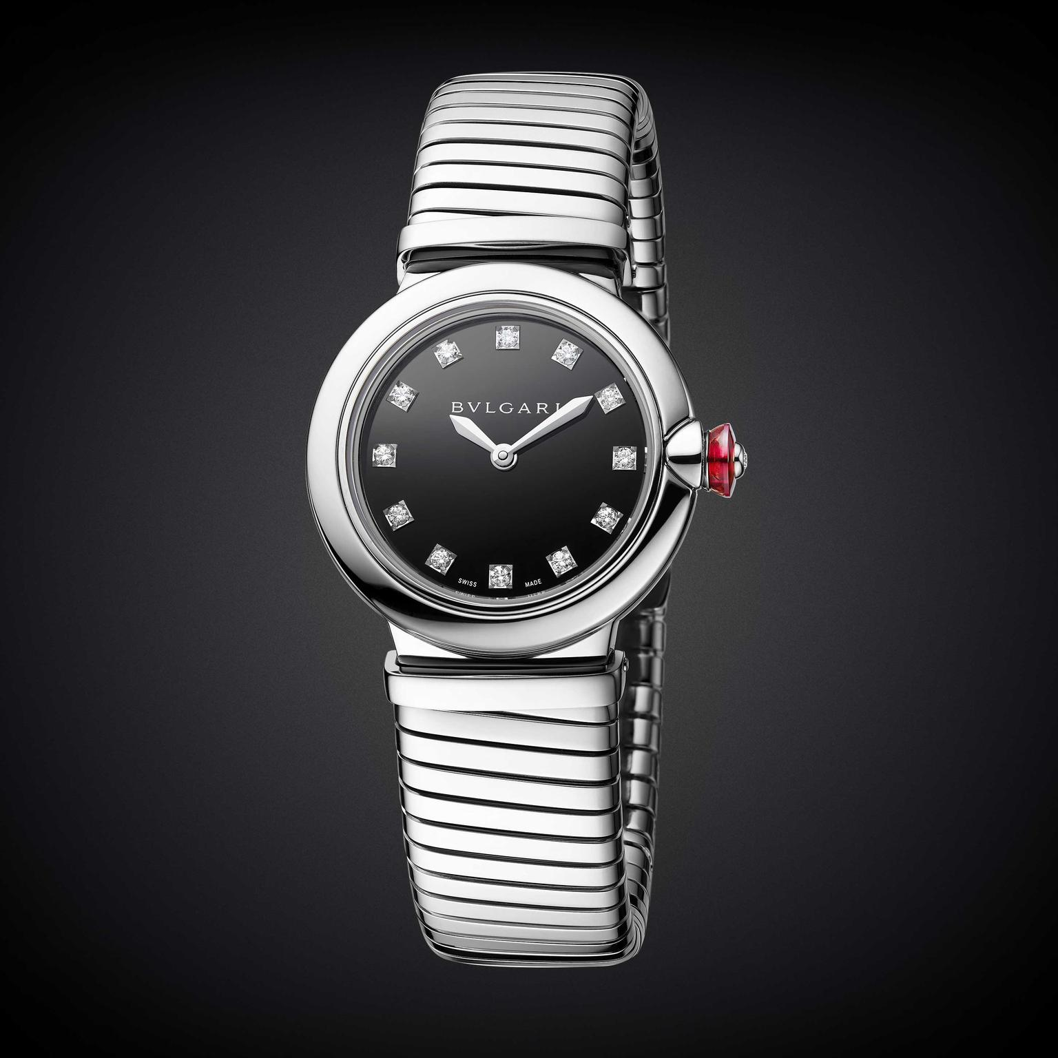 Bulgari Lvcea Tubogas 28mm stainless steel and diamond women's watch 2018 Price: €5,350