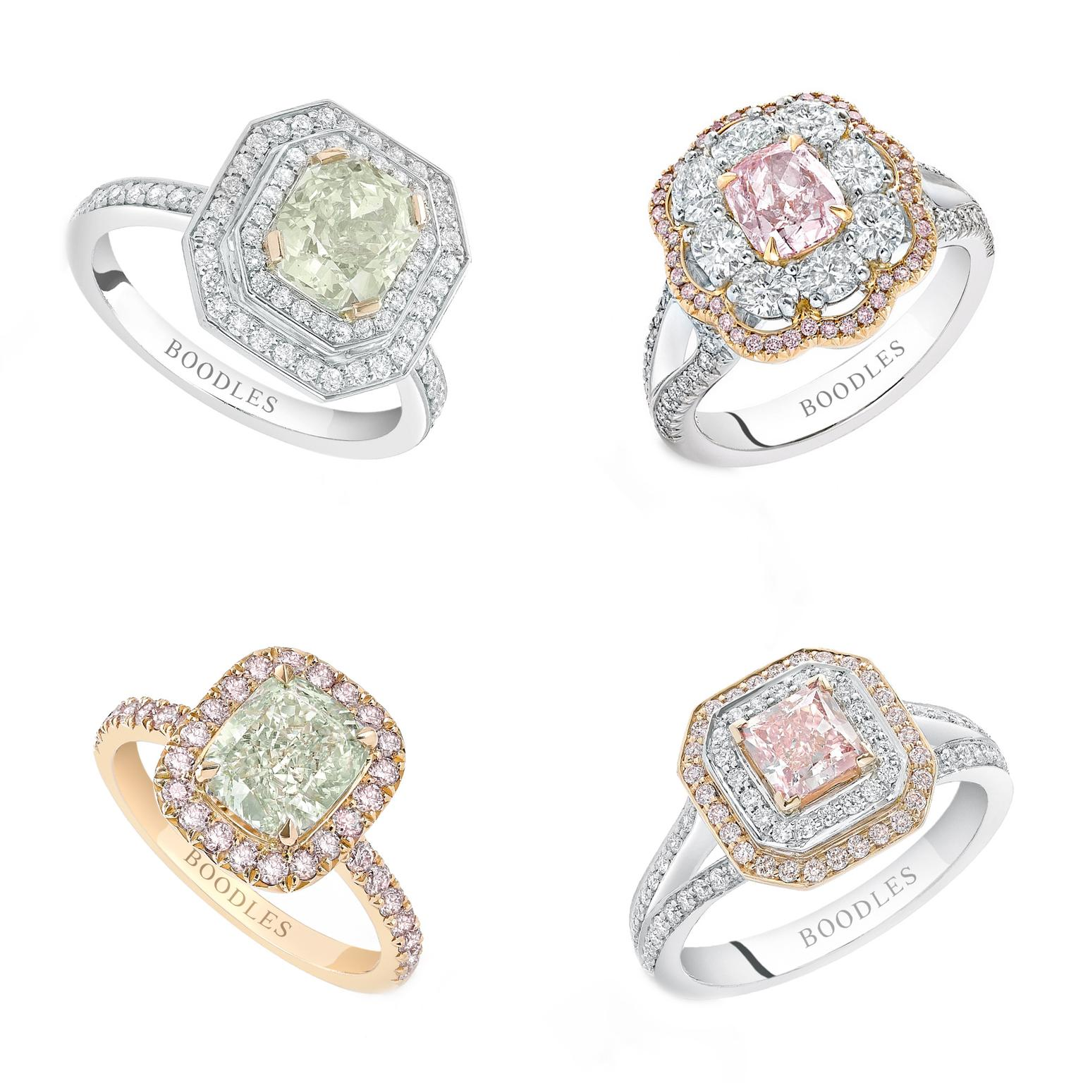 Collage of Boodles coloured diamond rings
