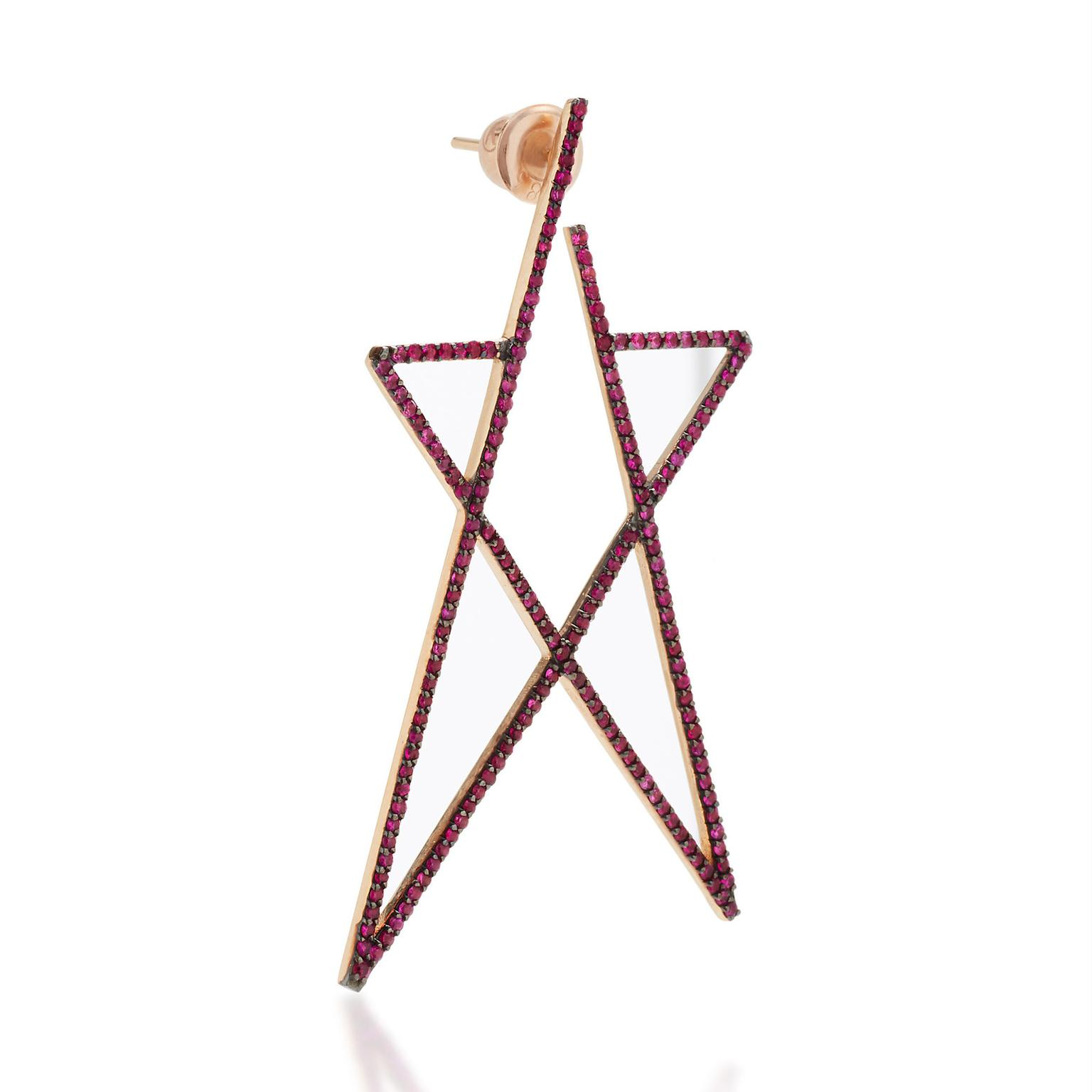 Kismet by Milka Struck Star ruby earring