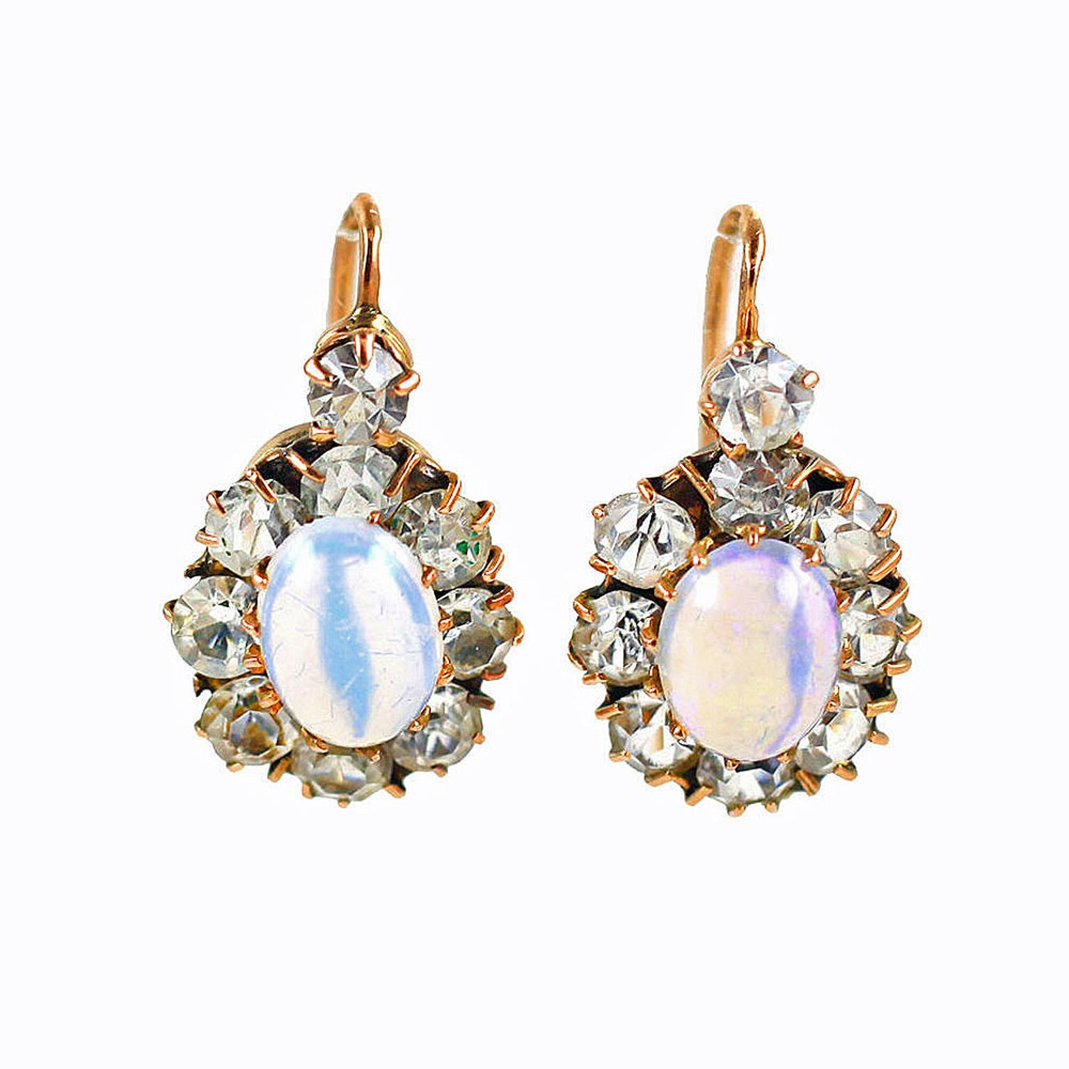 Glorious Antique Jewelry opal and diamond earrings
