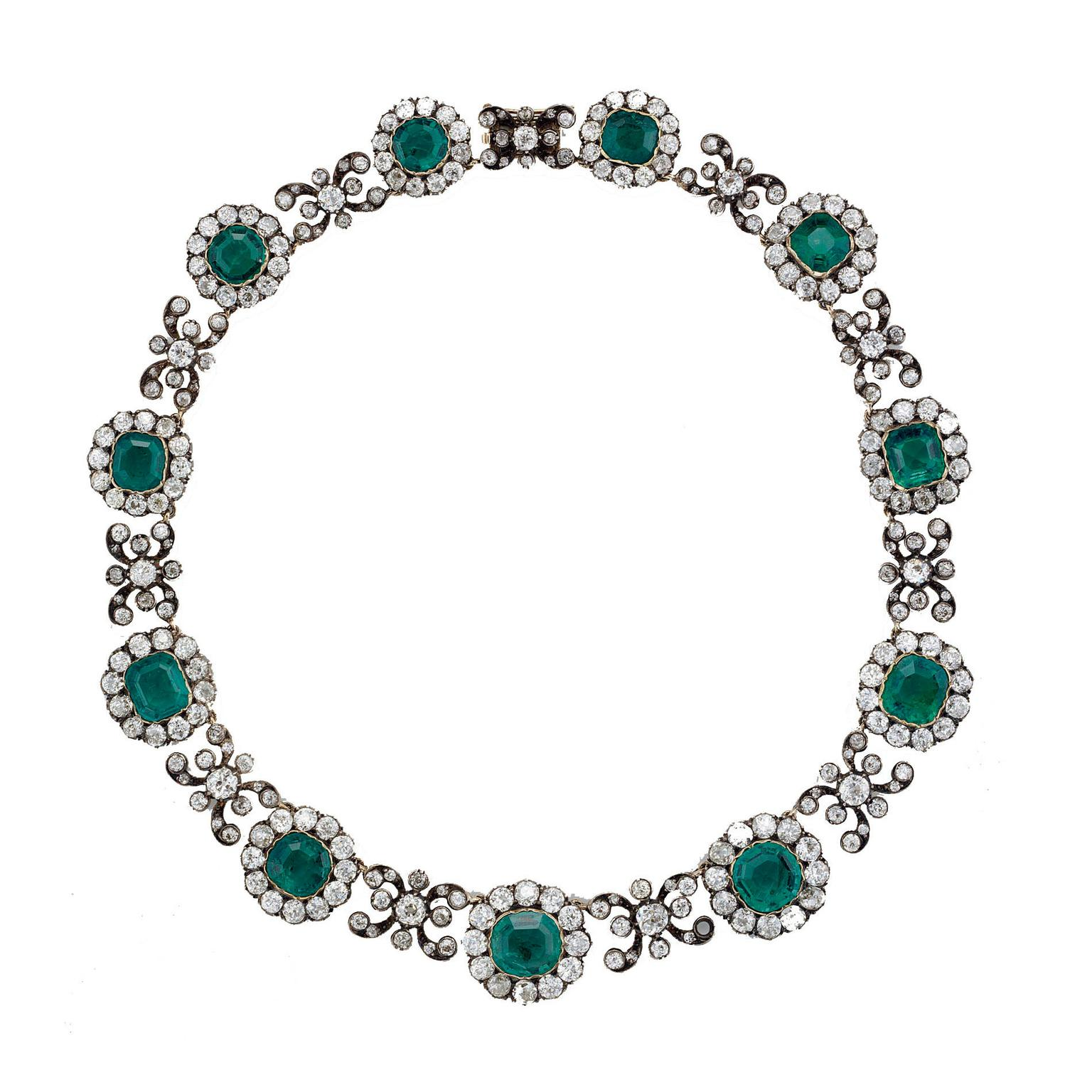 Stephen Russell Victorian emerald necklace