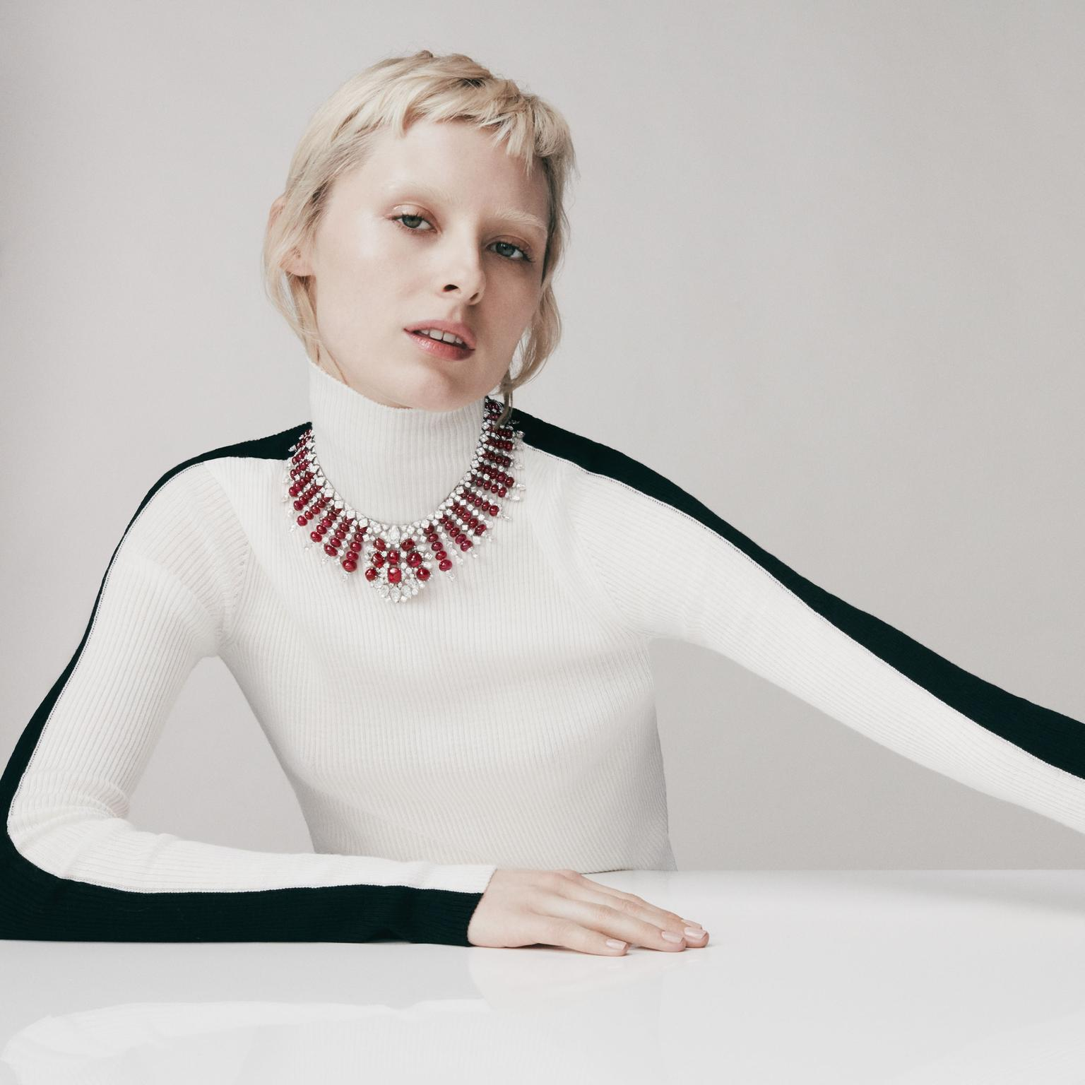 Rubia necklace by David Morris on model