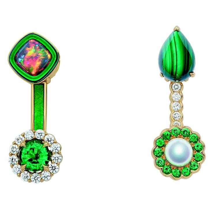 Mismatched Dior et Moi Tribales earrings featuring emeralds