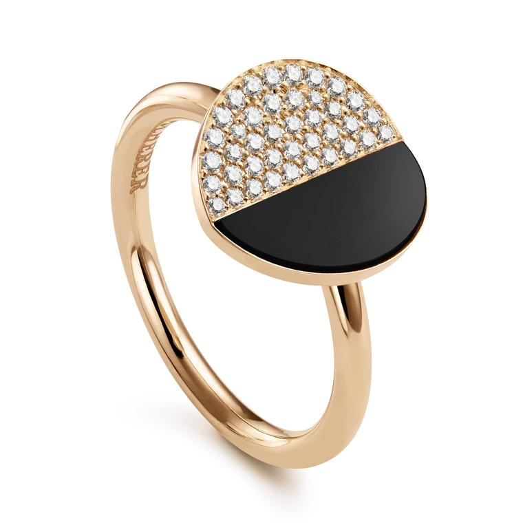 Bucherer B Dimension ring with diamonds and onyx in rose gold Price £1450