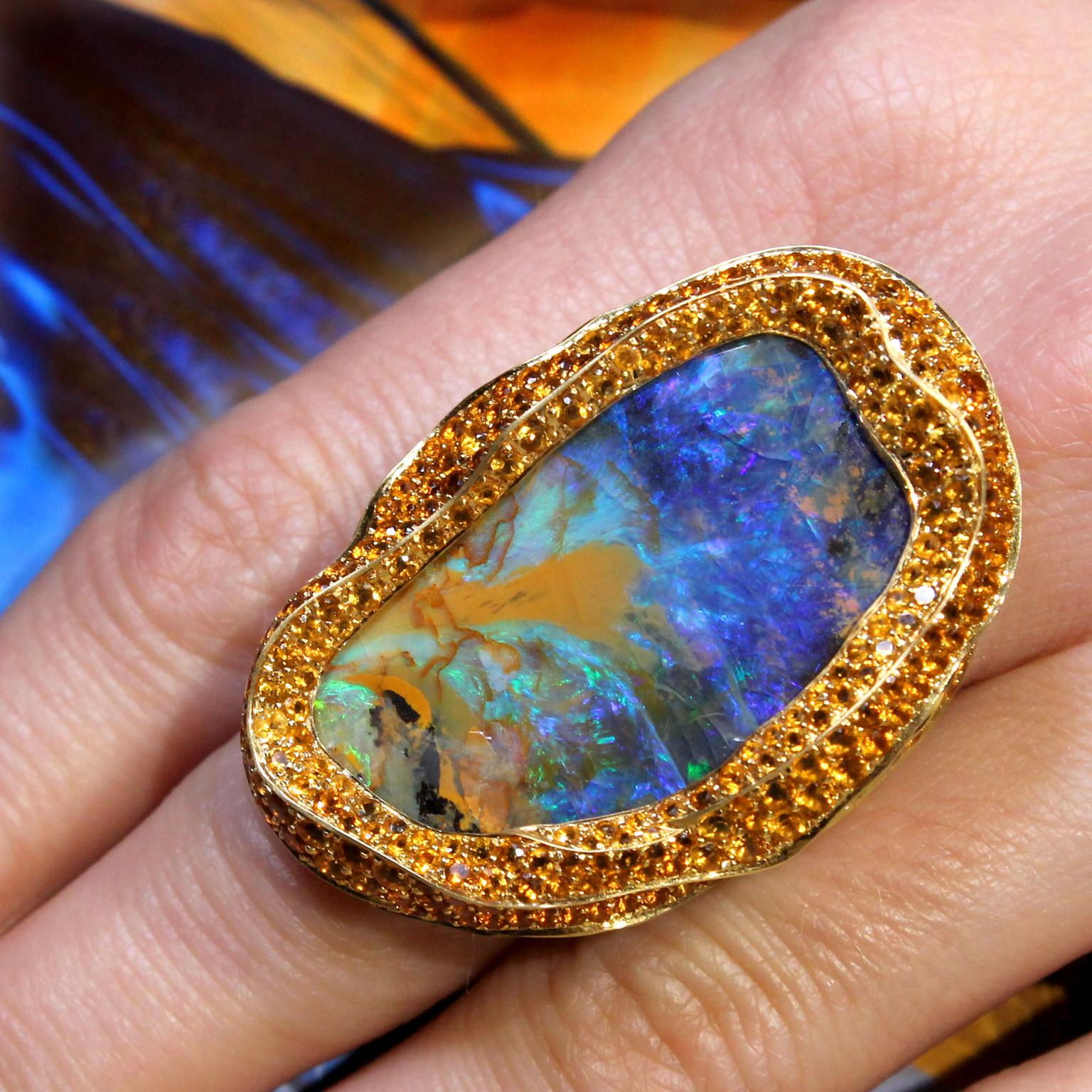 Lydia Courteille Sahara Boulder opal cocktail ring