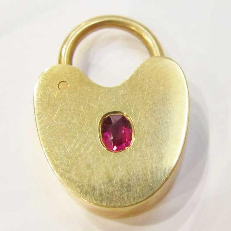 Gray & Davis rose gold padlock with cushion-cut ruby