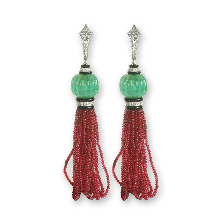 Villa spinel and carved emerald earrings