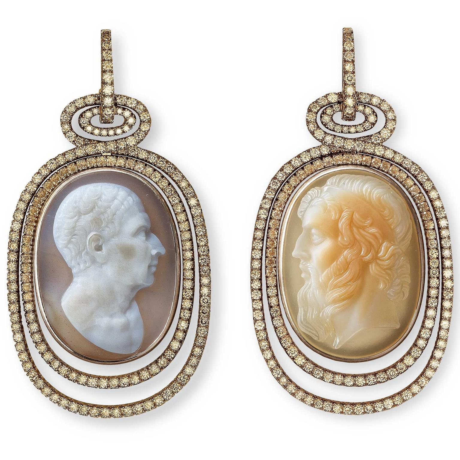 Hemmerle Cameo earrings with diamonds