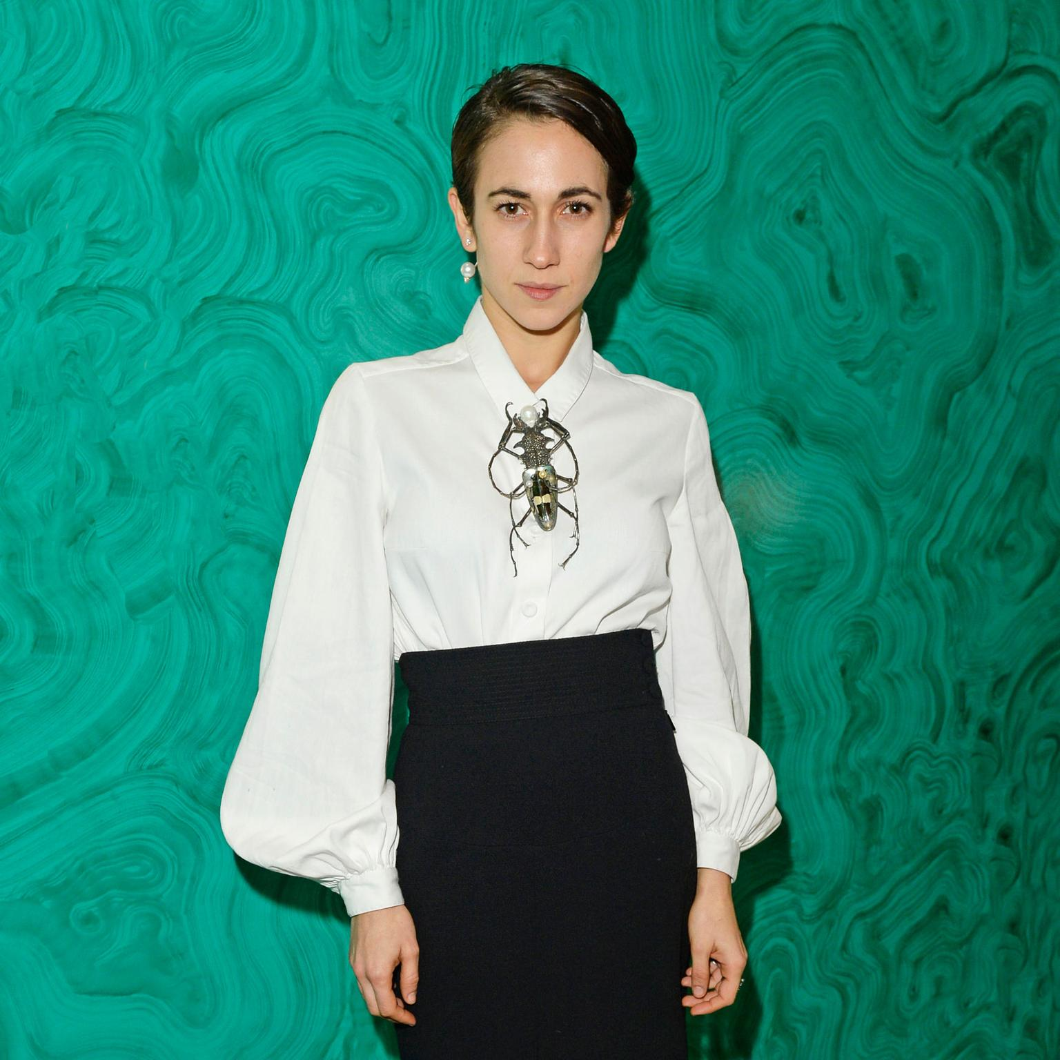 Delfina Delettrez wearing one of her brooches