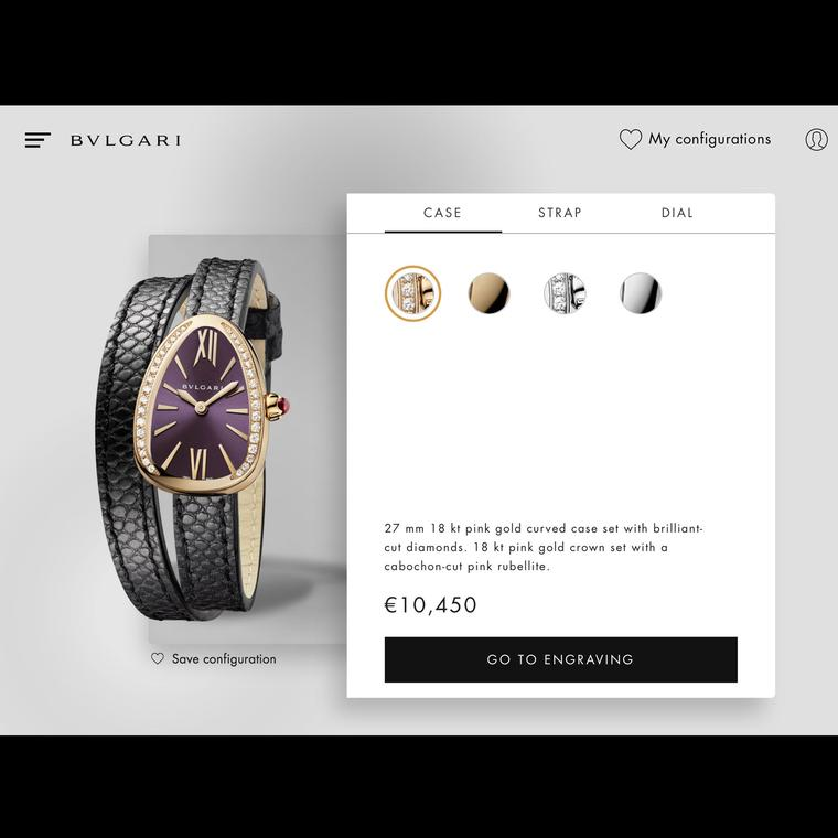 Bulgari Serpenti watch customisation app