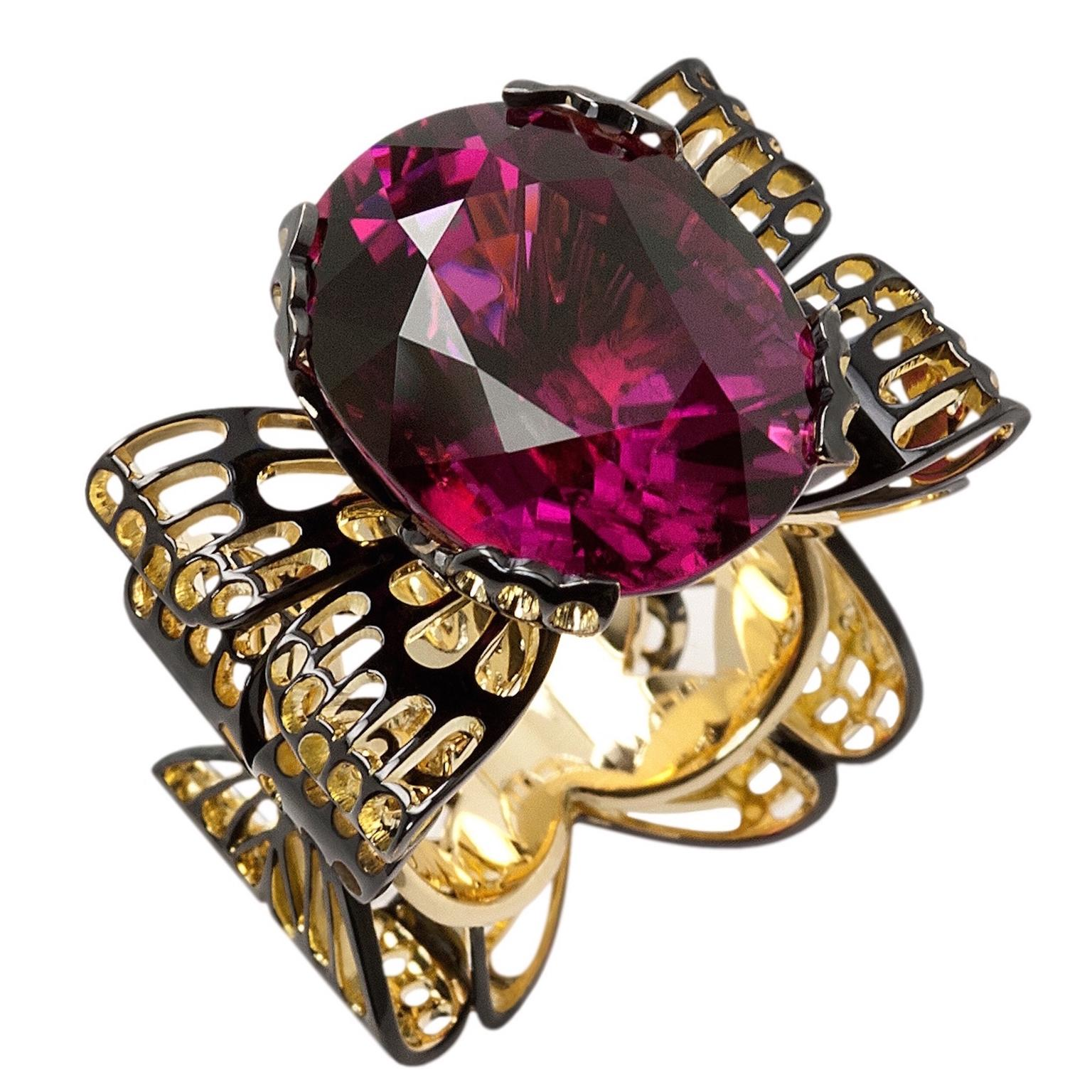Ming Lampson Butterfly pink tourmaline ring