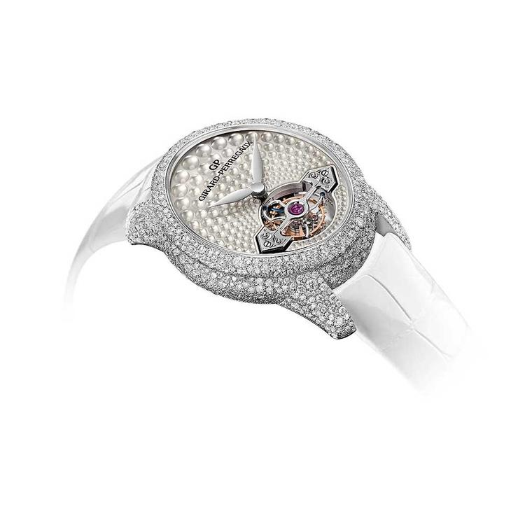 Girard Perregaux Cats Eye Jewellery watch with snow-setting side