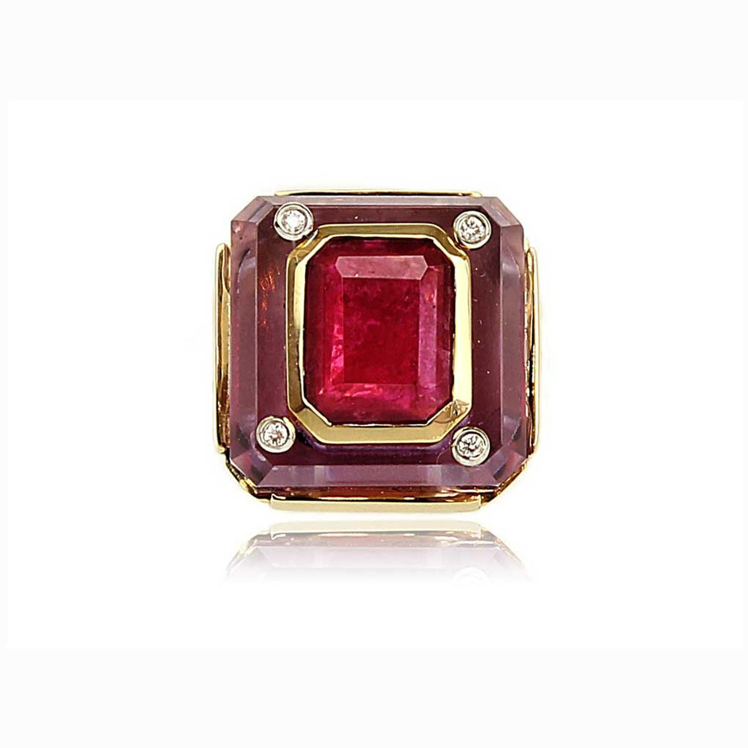 Kara Ross Cava ring in amethyst and ruby front