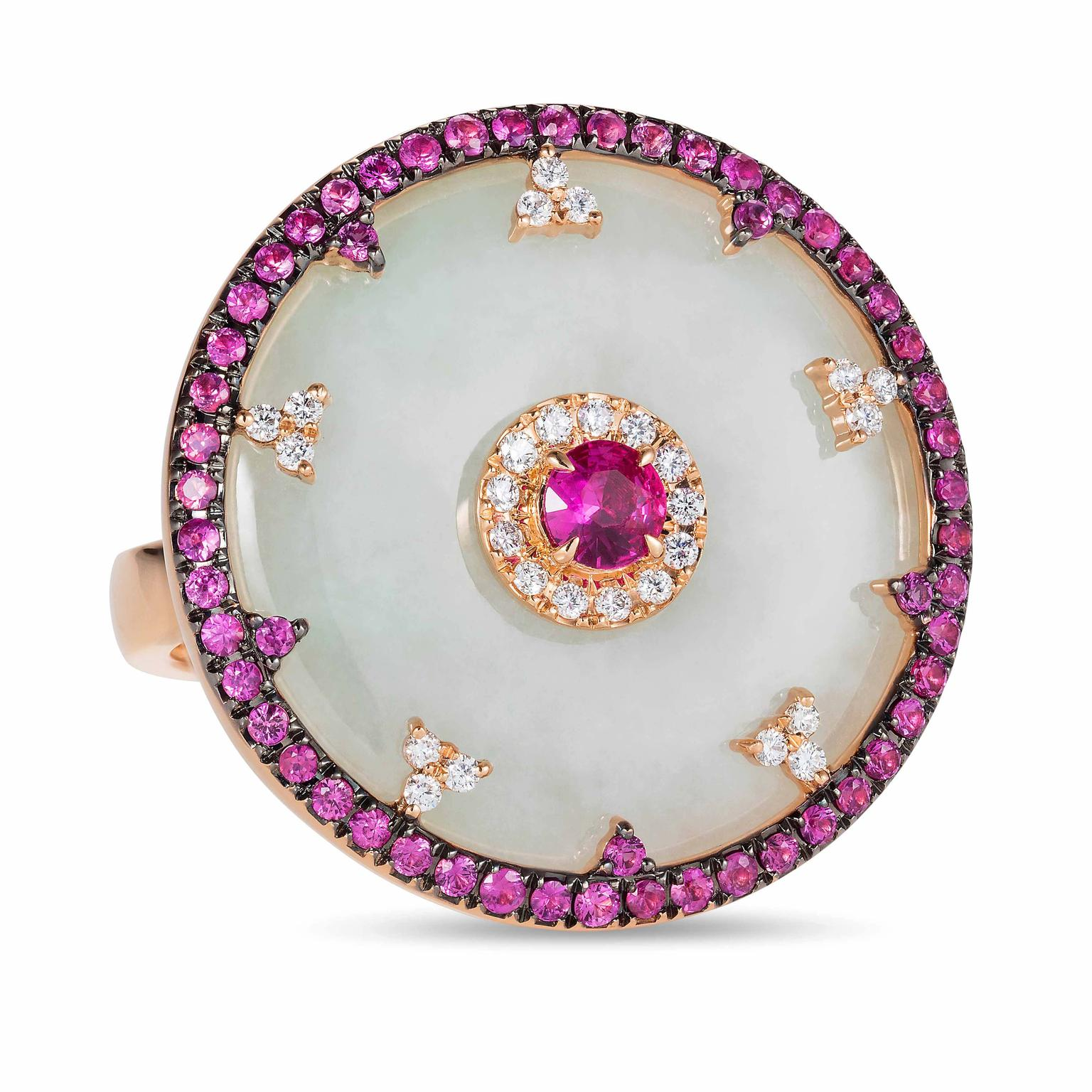 Celeste ring in jade and pink sapphires from Nadine Aysoy