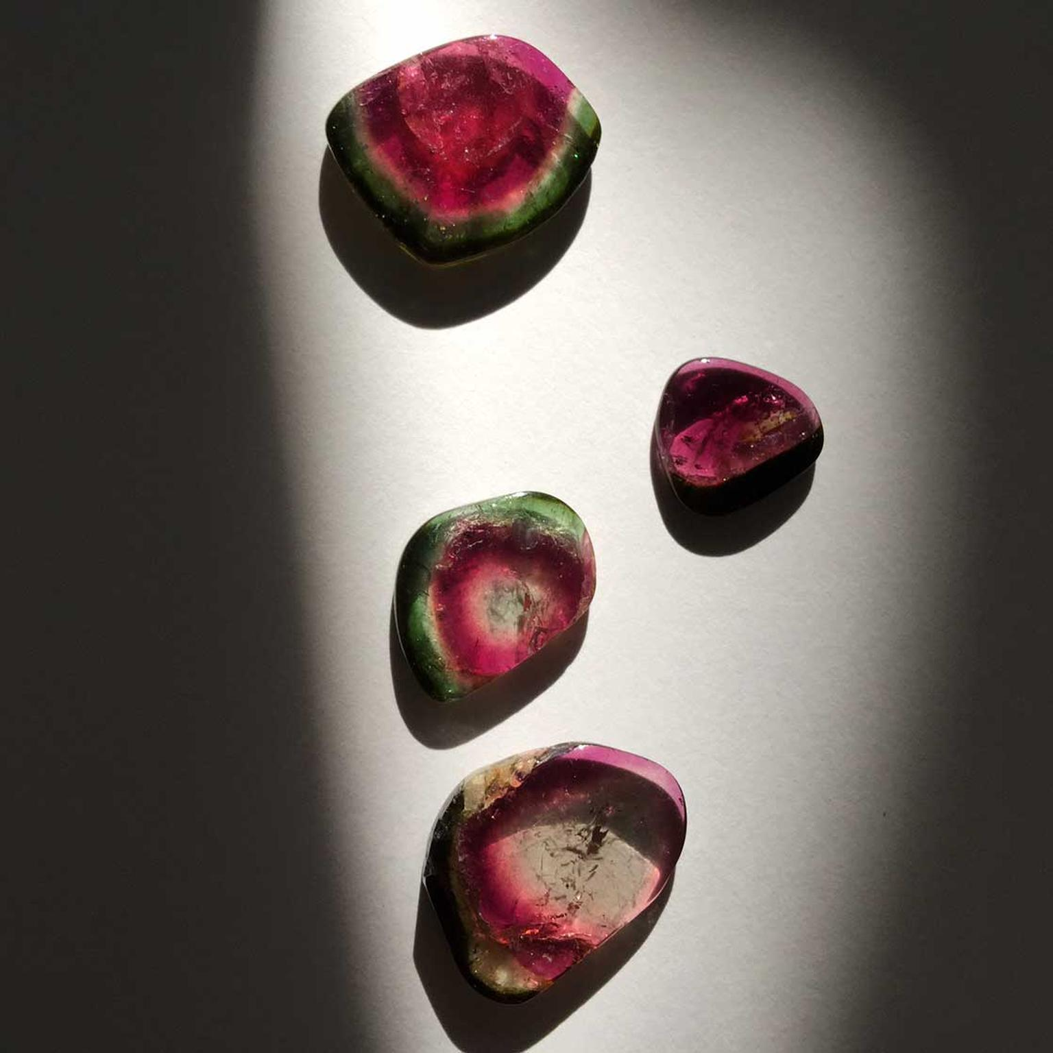 Watermelon tourmaline slices