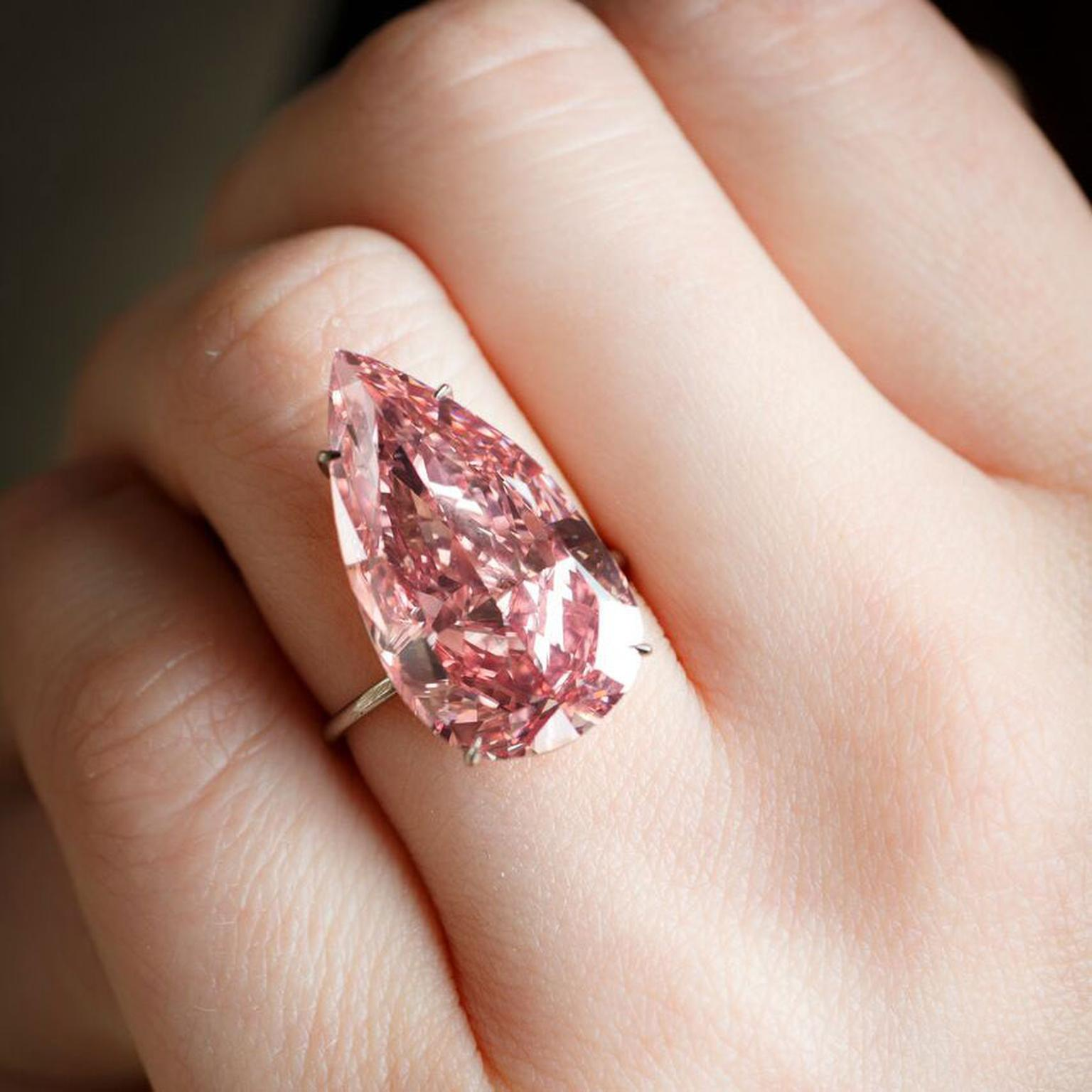 Unique Pink - the largest pear-shape pink diamond