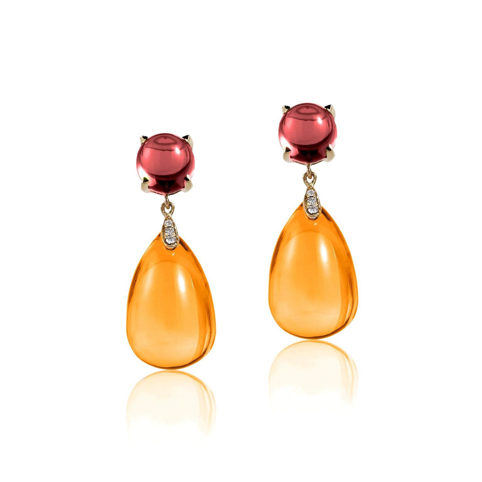 Goshwara citrine and garnet earrings