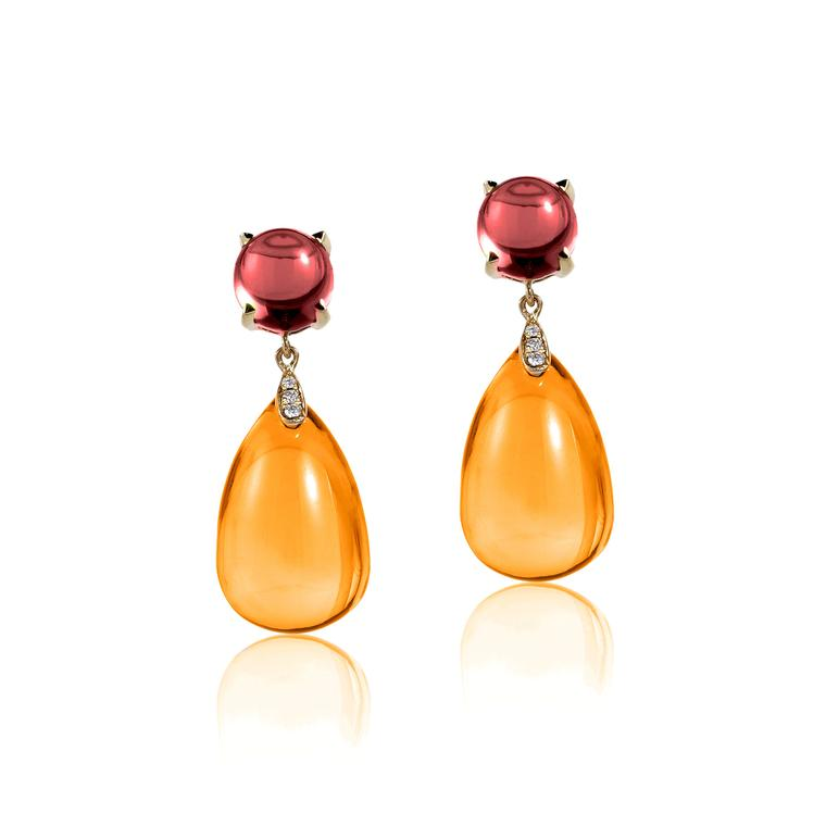 Naughty citrine cabochon drop earrings with garnets