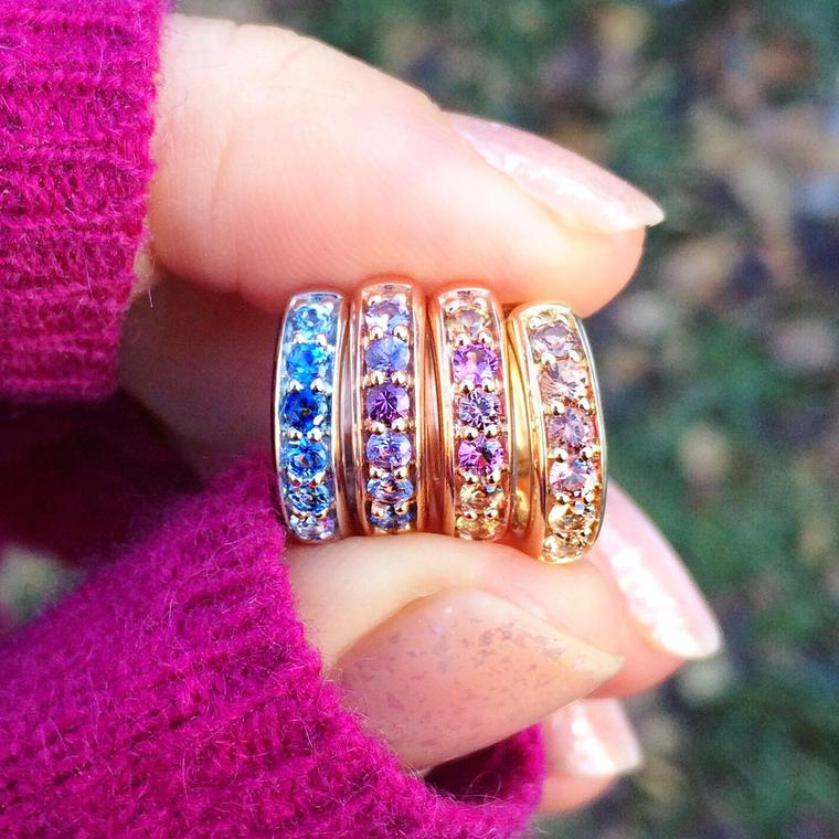 Jane Taylor Cirque Colorful Sapphire Huggie earrings